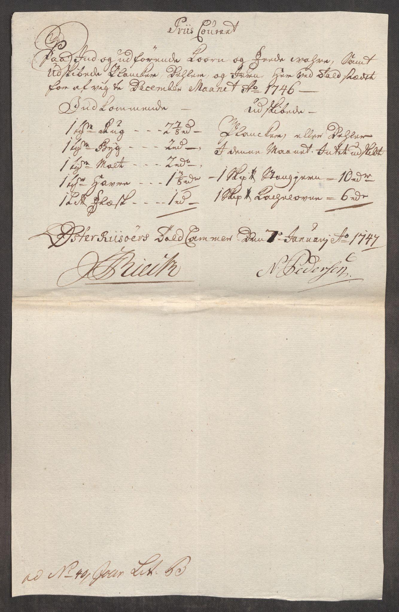 RA, Rentekammeret inntil 1814, Realistisk ordnet avdeling, Oe/L0003: [Ø1]: Priskuranter, 1745-1748, p. 598