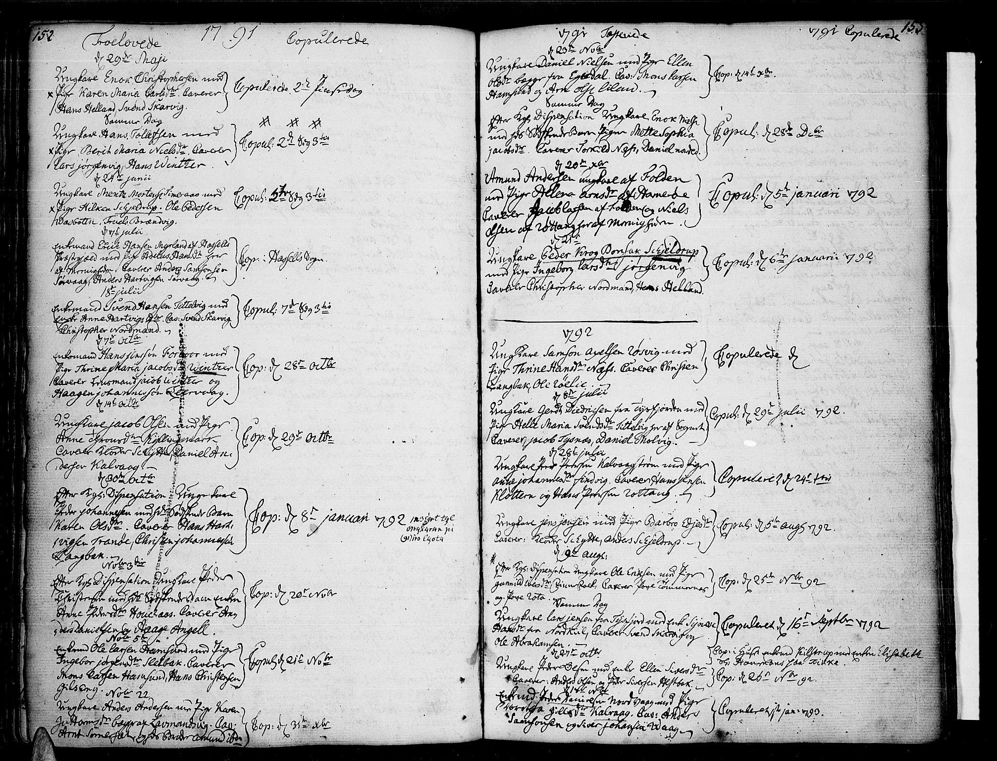 SAT, Ministerialprotokoller, klokkerbøker og fødselsregistre - Nordland, 859/L0841: Parish register (official) no. 859A01, 1766-1821, p. 152-153