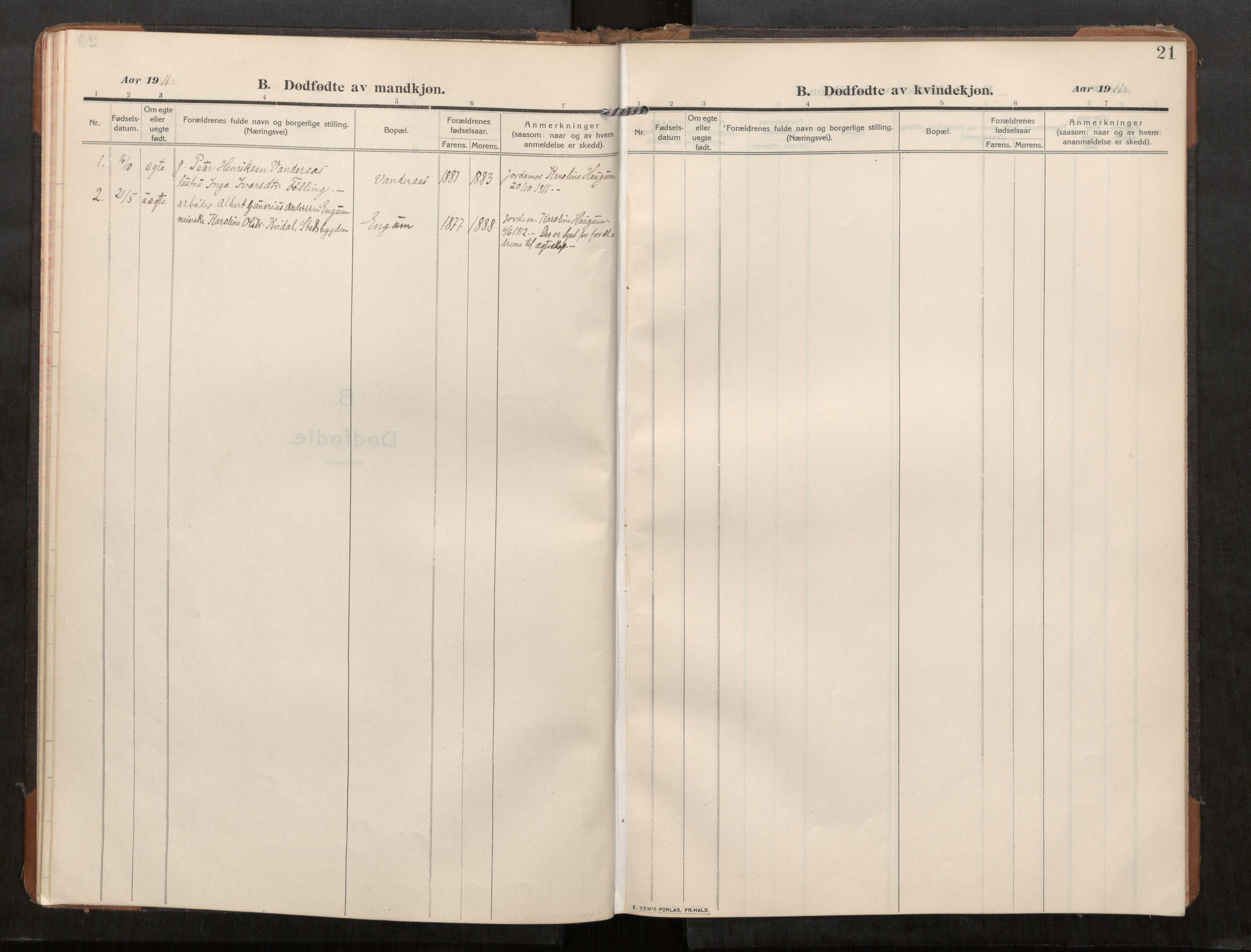 SAT, Stod sokneprestkontor, I/I1/I1a/L0003: Parish register (official) no. 3, 1909-1934, p. 22