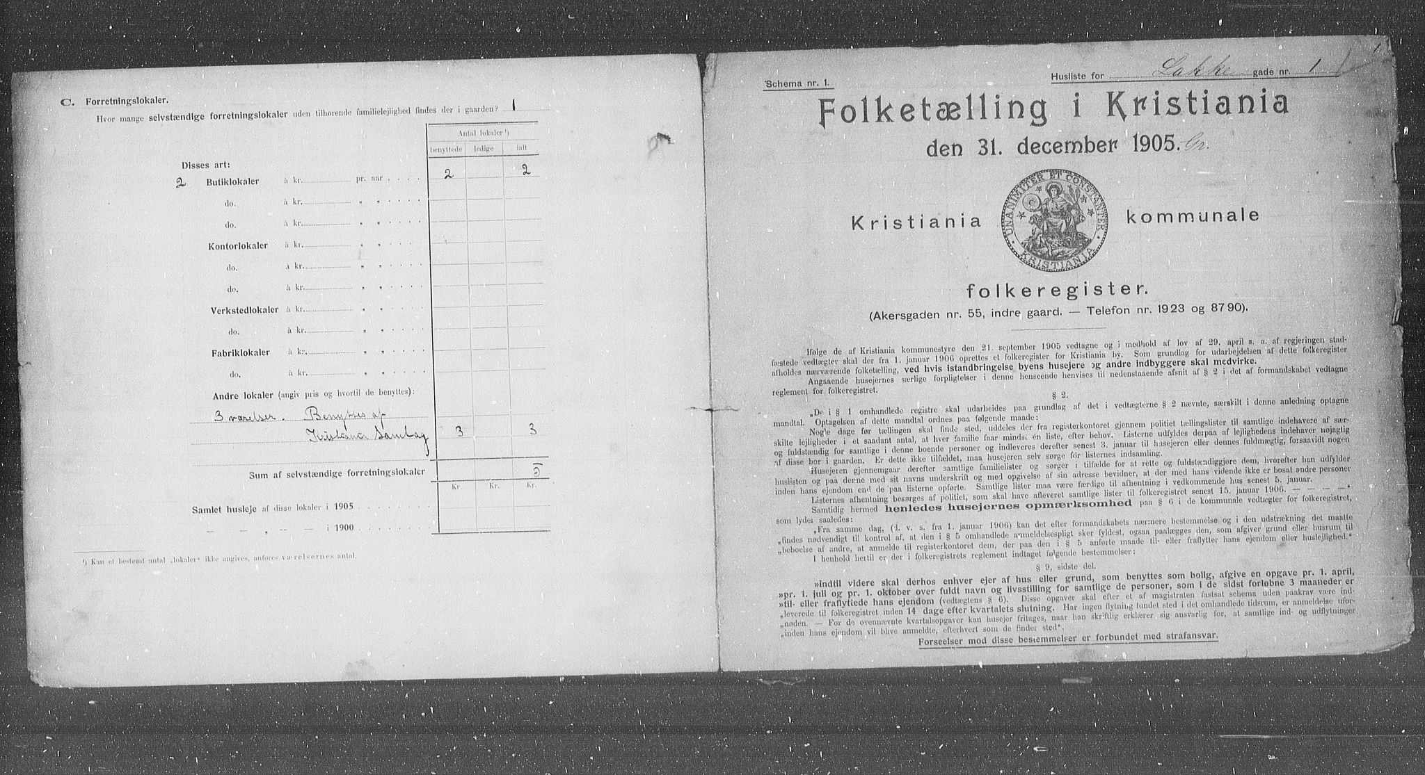 OBA, Municipal Census 1905 for Kristiania, 1905, p. 29040