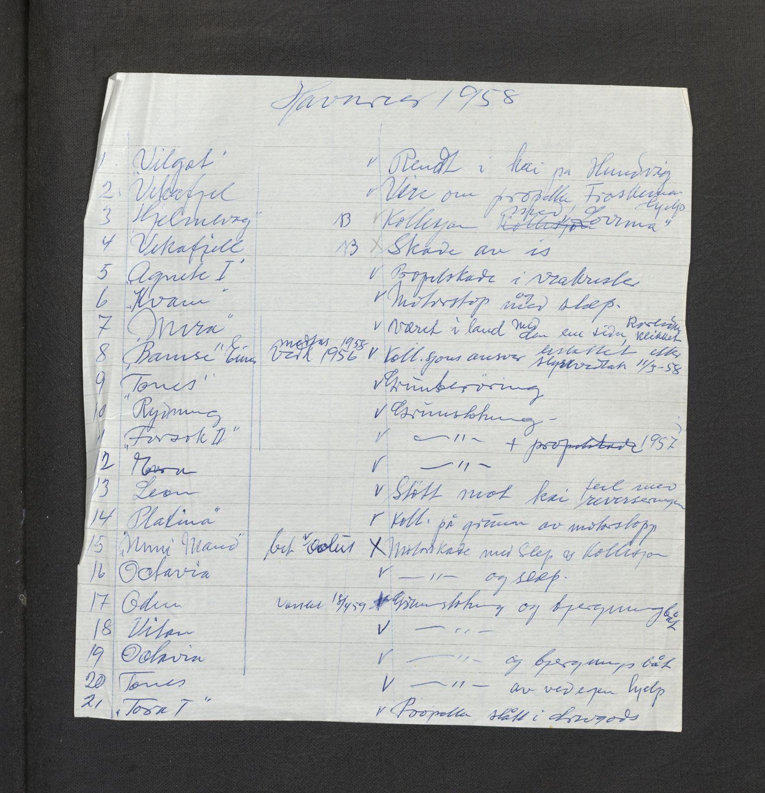 SAB, Jondal Skipsassuranseforening, E/L0016: Havari korrespondanse , 1958-1960