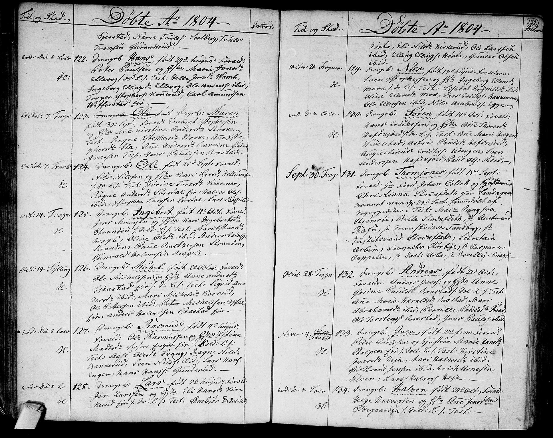 SAKO, Lier kirkebøker, F/Fa/L0007: Parish register (official) no. I 7, 1794-1813, p. 172