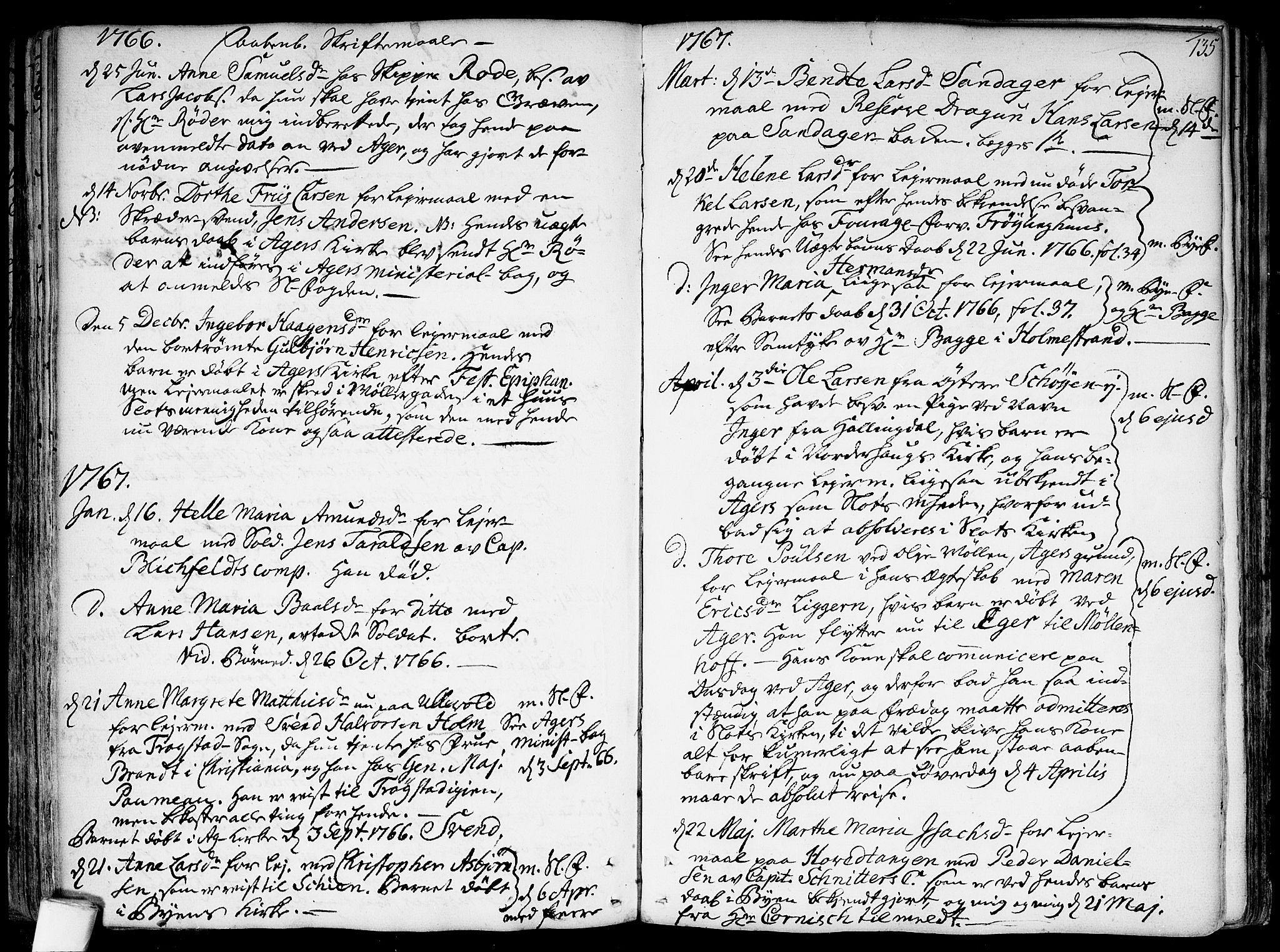 SAO, Garnisonsmenigheten Kirkebøker, F/Fa/L0002: Parish register (official) no. 2, 1757-1776, p. 135