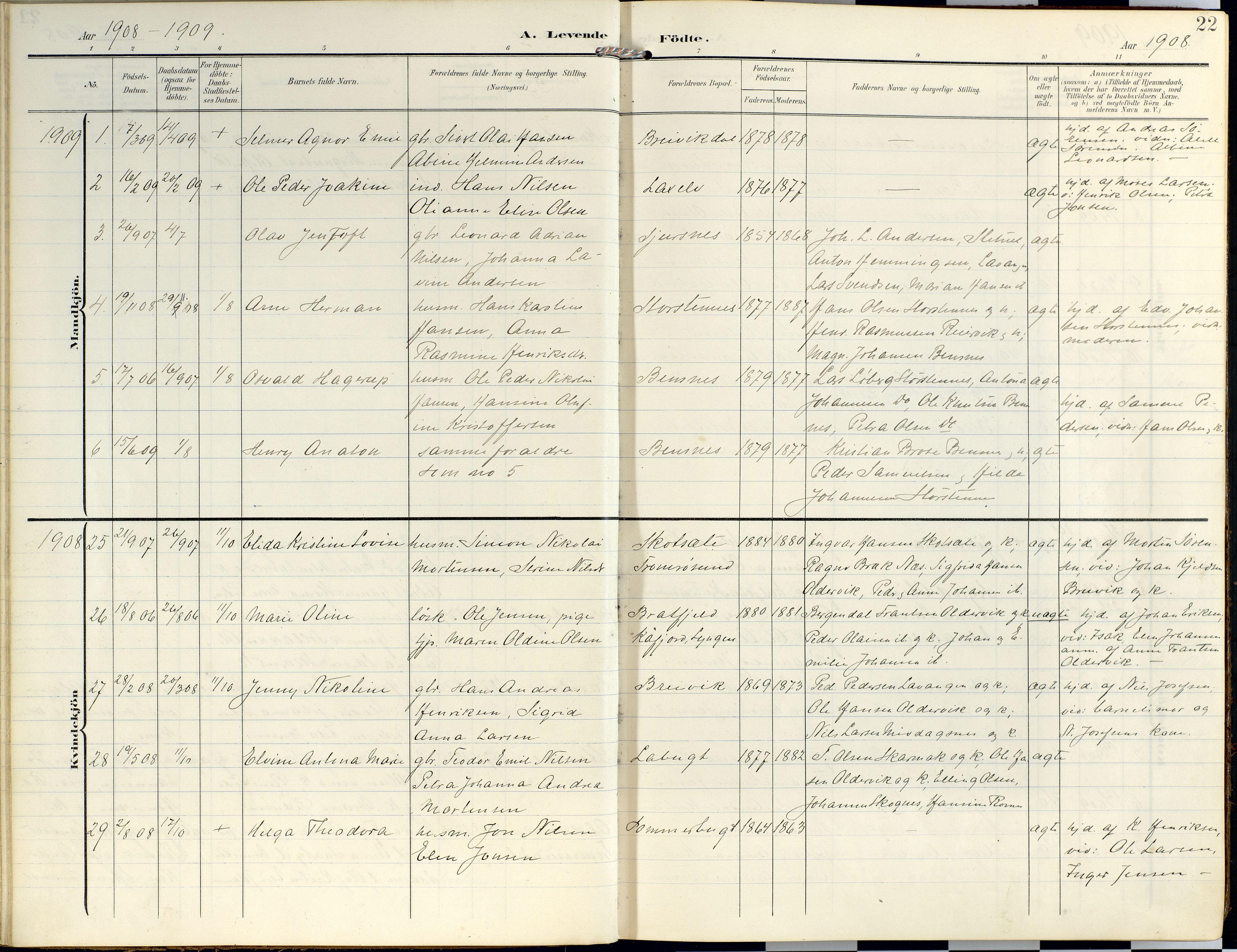 SATØ, Lyngen sokneprestembete, Parish register (official) no. 14, 1905-1920, p. 22