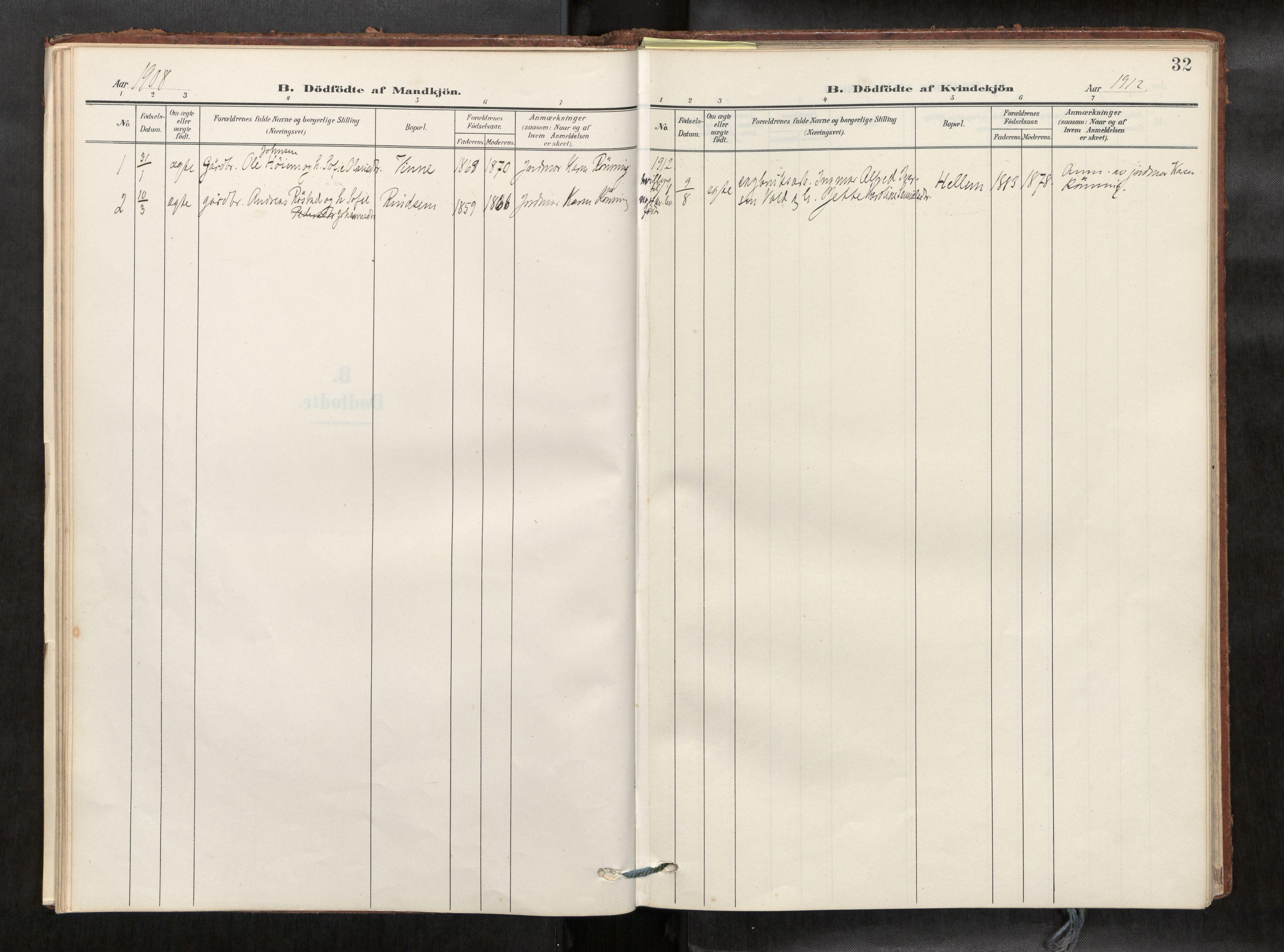SAT, Verdal sokneprestkontor*, Parish register (official) no. 2, 1907-1921, p. 32
