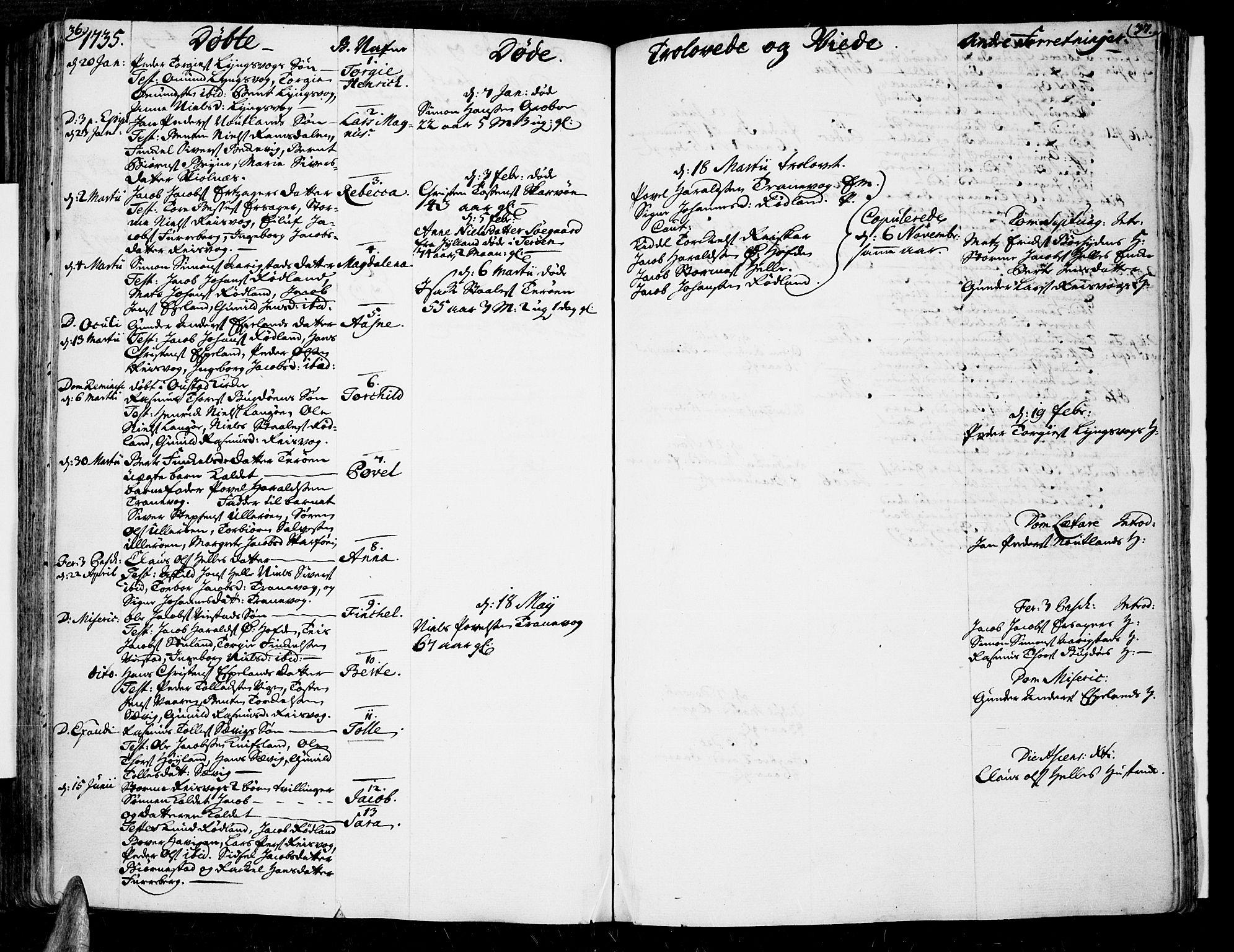 SAK, Lista sokneprestkontor, F/Fa/L0002: Parish register (official) no. A 2 /3, 1726-1751, p. 36-37