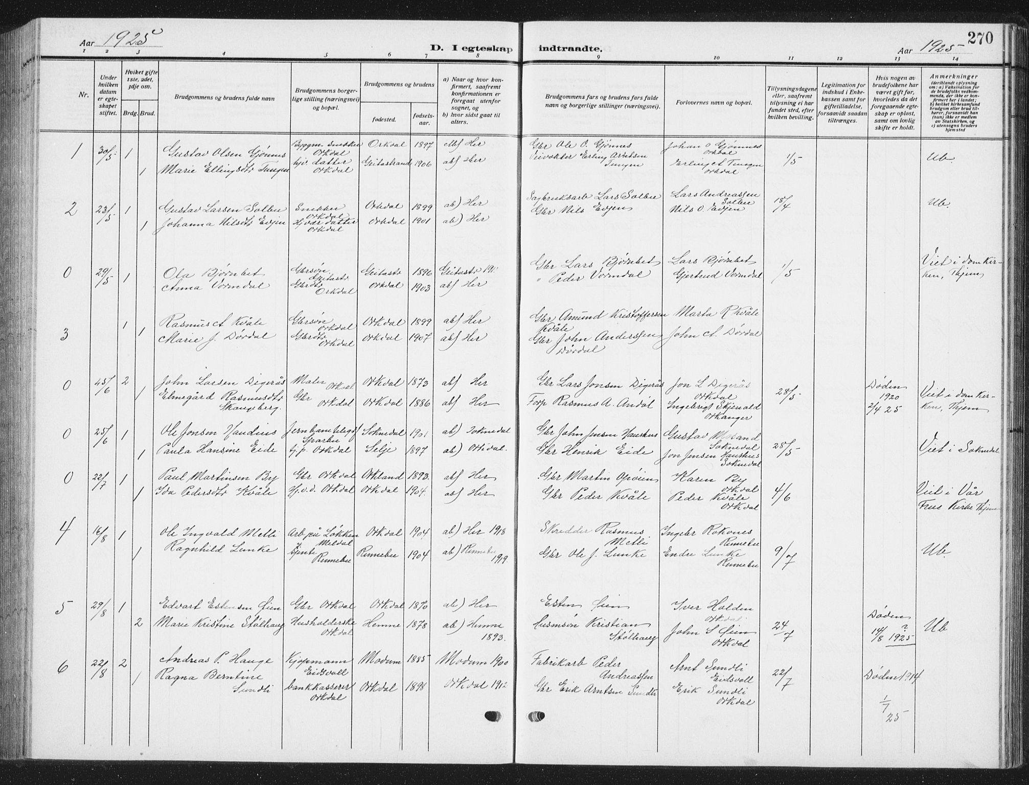 SAT, Ministerialprotokoller, klokkerbøker og fødselsregistre - Sør-Trøndelag, 668/L0820: Parish register (copy) no. 668C09, 1912-1936, p. 270