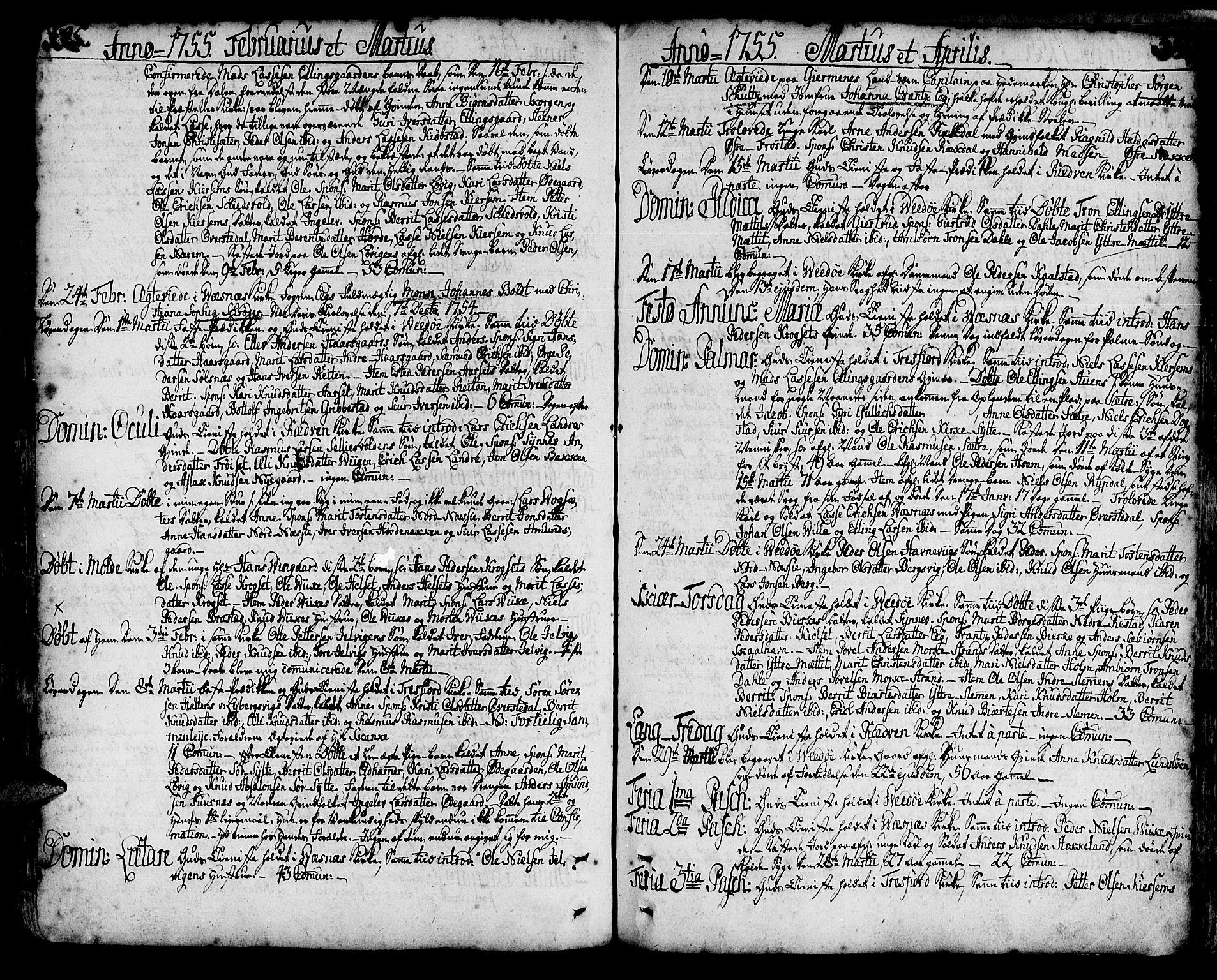SAT, Ministerialprotokoller, klokkerbøker og fødselsregistre - Møre og Romsdal, 547/L0599: Parish register (official) no. 547A01, 1721-1764, p. 395-396