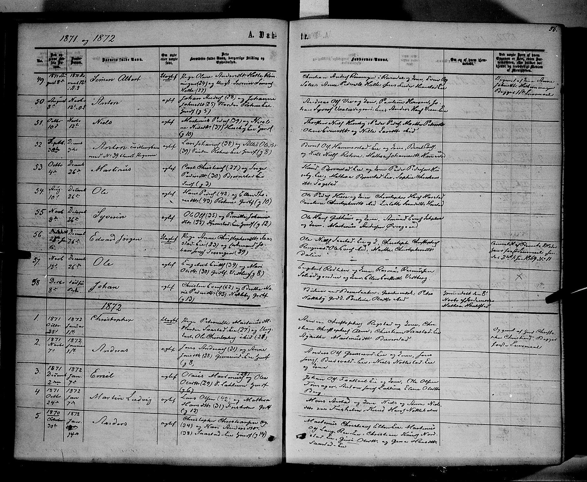SAH, Stange prestekontor, K/L0013: Parish register (official) no. 13, 1862-1879, p. 56
