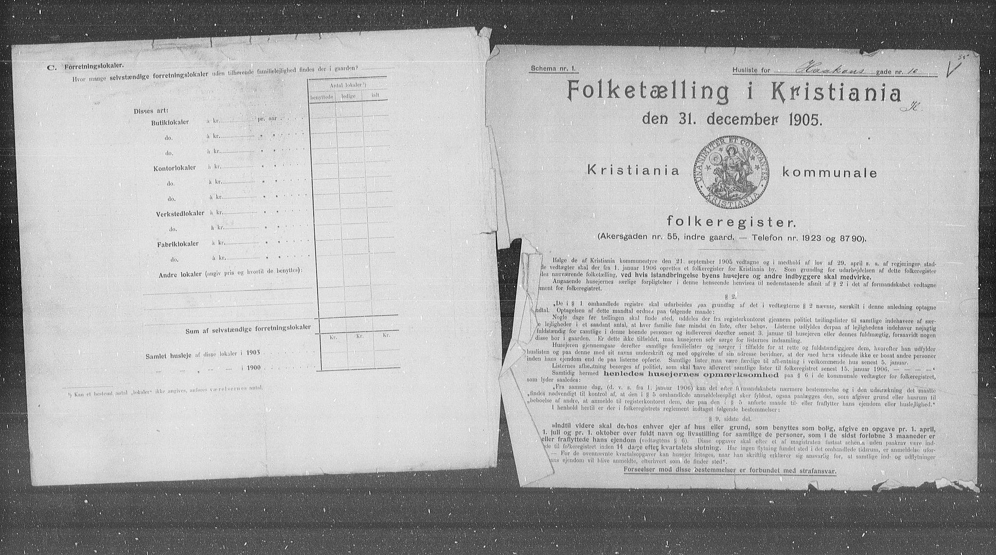 OBA, Municipal Census 1905 for Kristiania, 1905, p. 22527