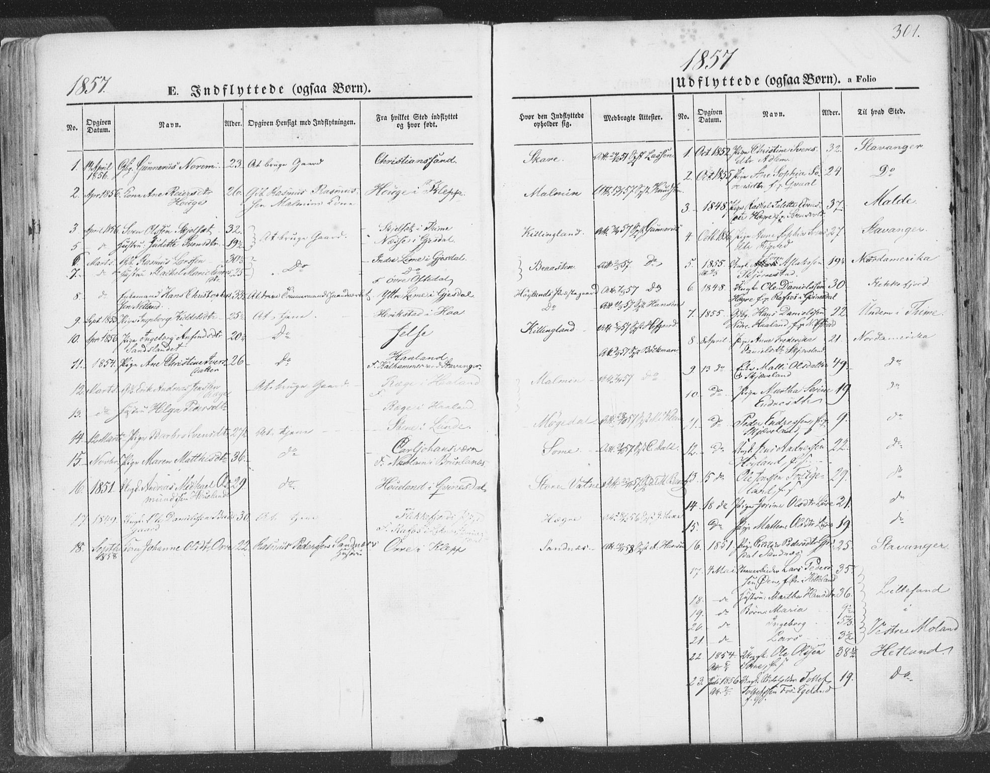 SAST, Høyland sokneprestkontor, 30BA/L0009: Parish register (official) no. A 9.2, 1857-1877, p. 301