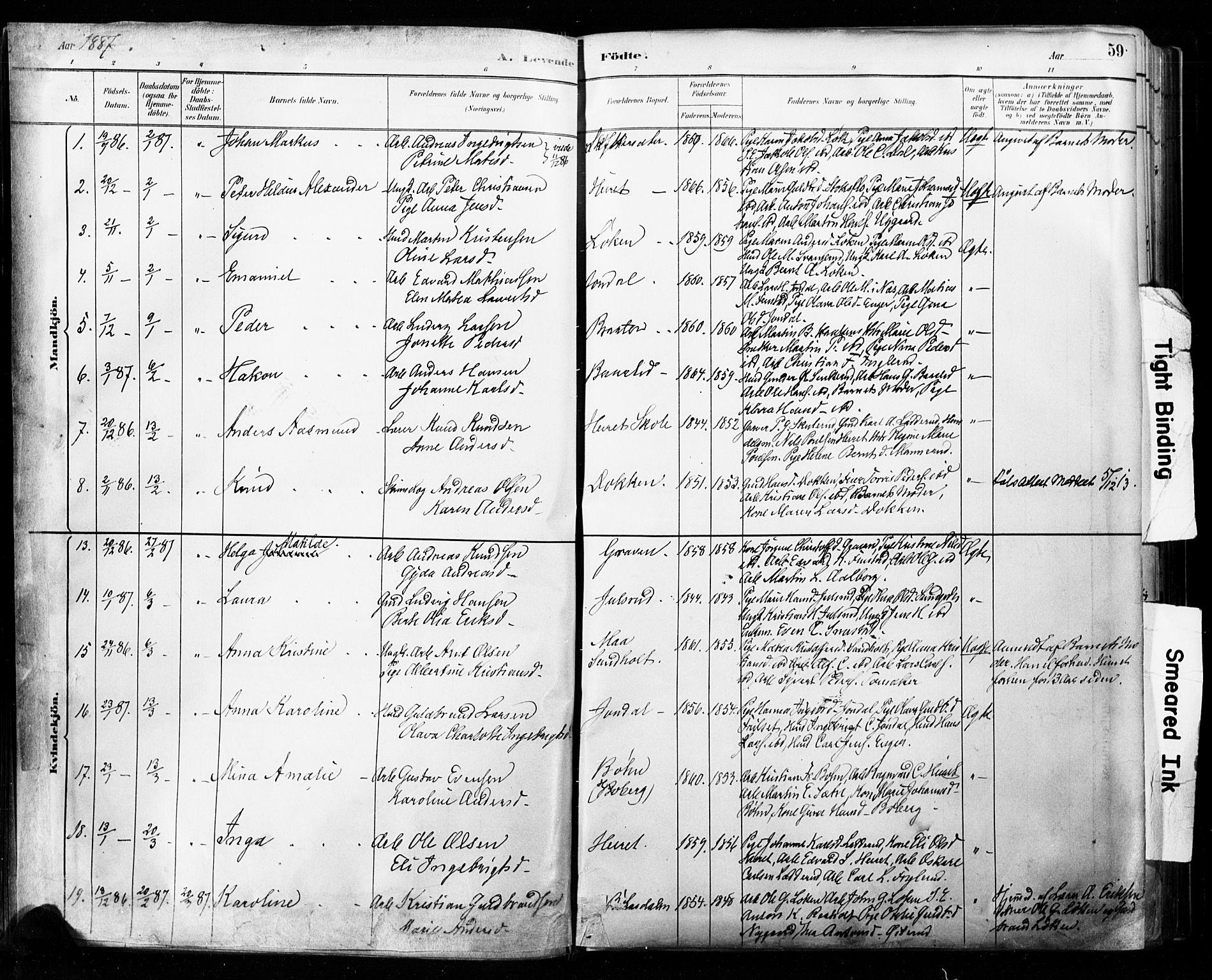 SAO, Eidsvoll prestekontor Kirkebøker, F/Fa/L0002: Parish register (official) no. I 2, 1882-1895, p. 59