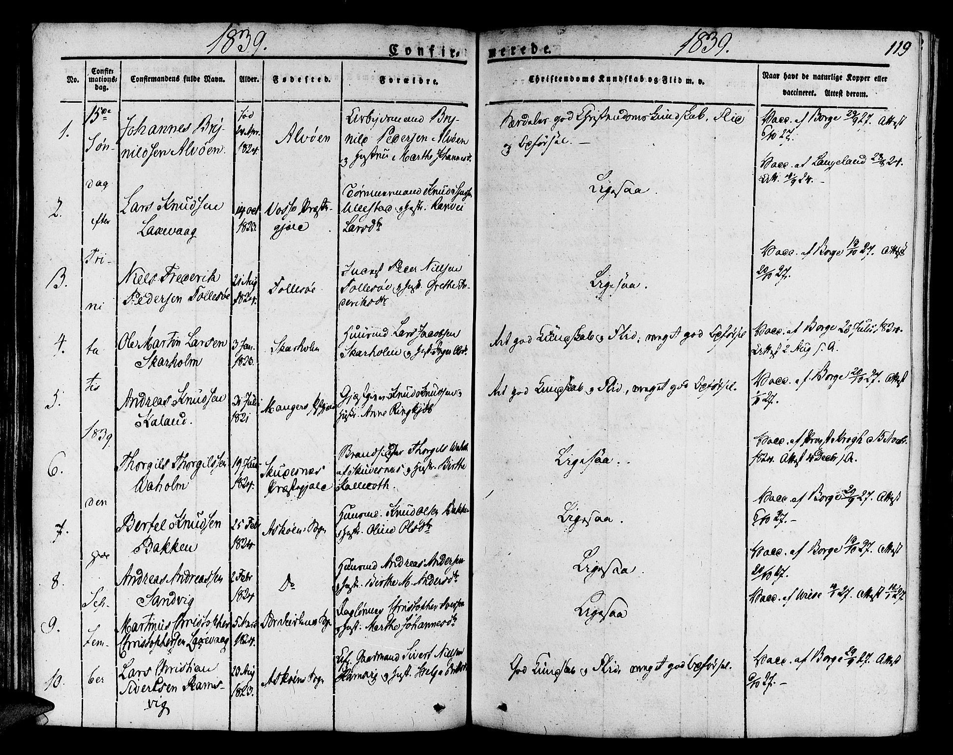 SAB, Askøy Sokneprestembete, H/Ha/Haa/Haaa/L0004: Parish register (official) no. A 4, 1825-1845, p. 119