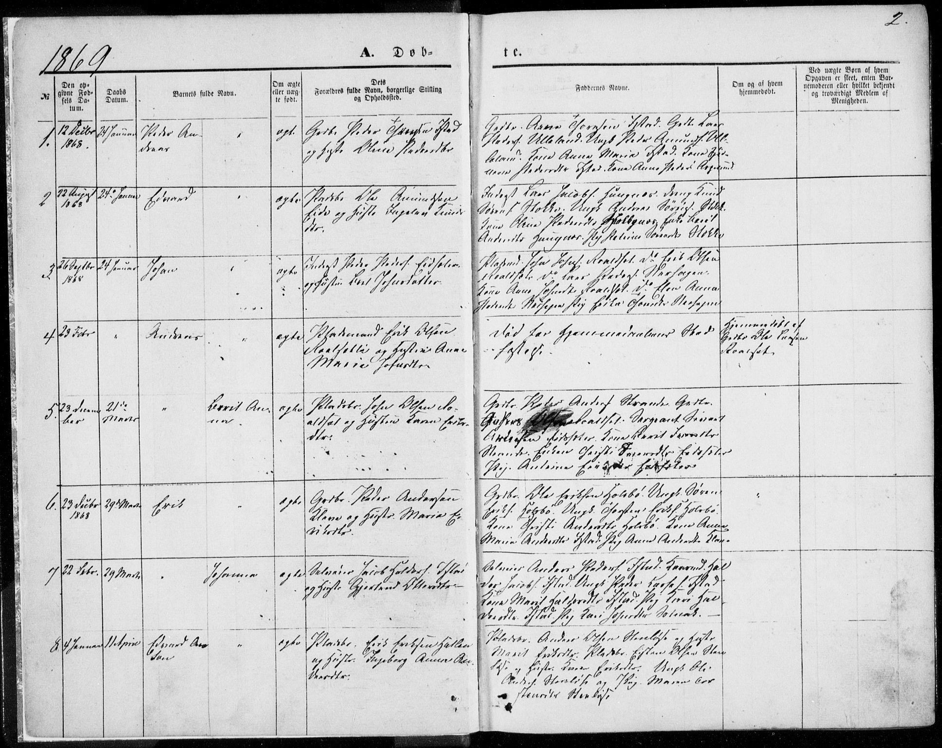 SAT, Ministerialprotokoller, klokkerbøker og fødselsregistre - Møre og Romsdal, 557/L0681: Parish register (official) no. 557A03, 1869-1886, p. 2