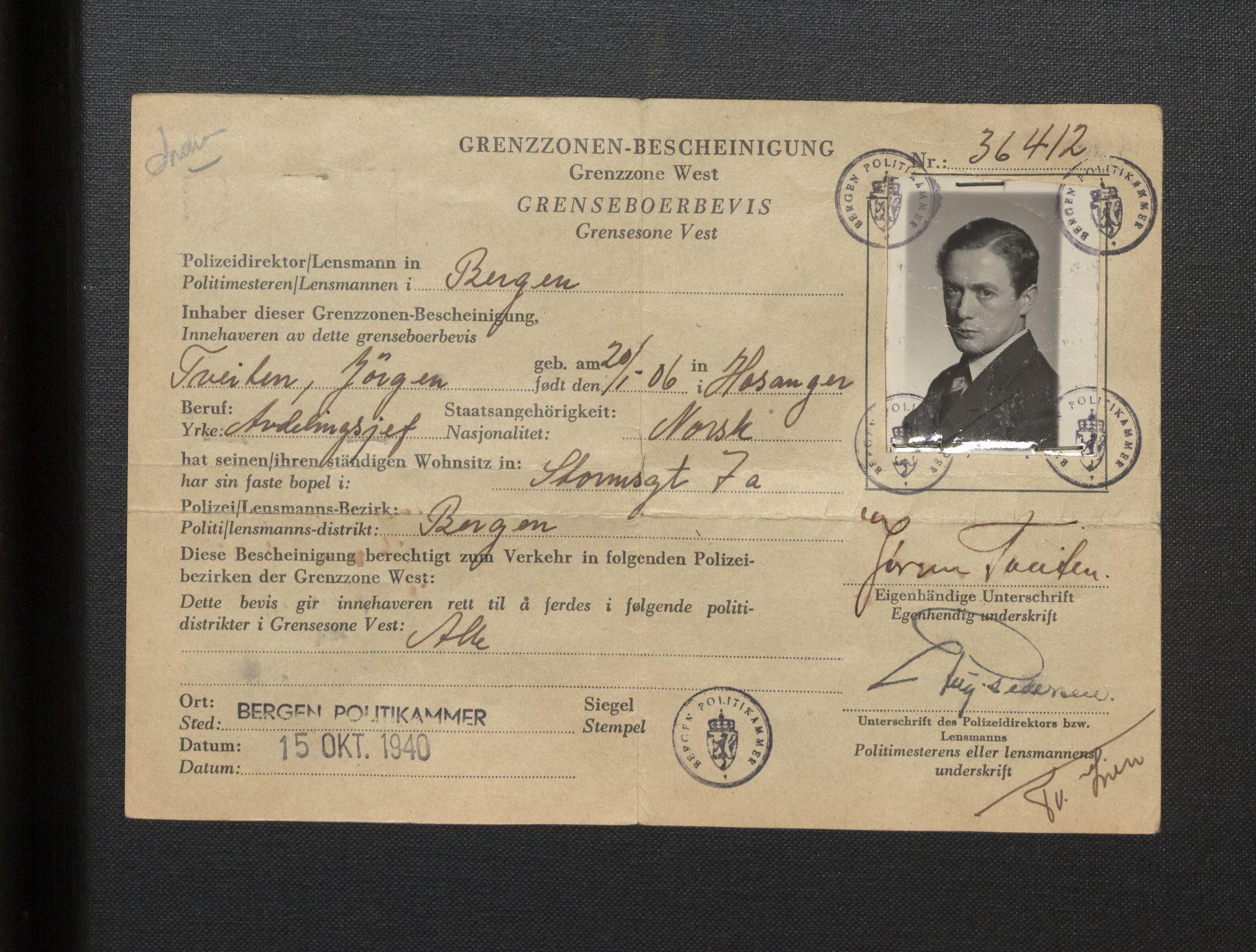 SAB, Tveiten, Jørgen, E/L0001: Korrespondanse, 1941-1947