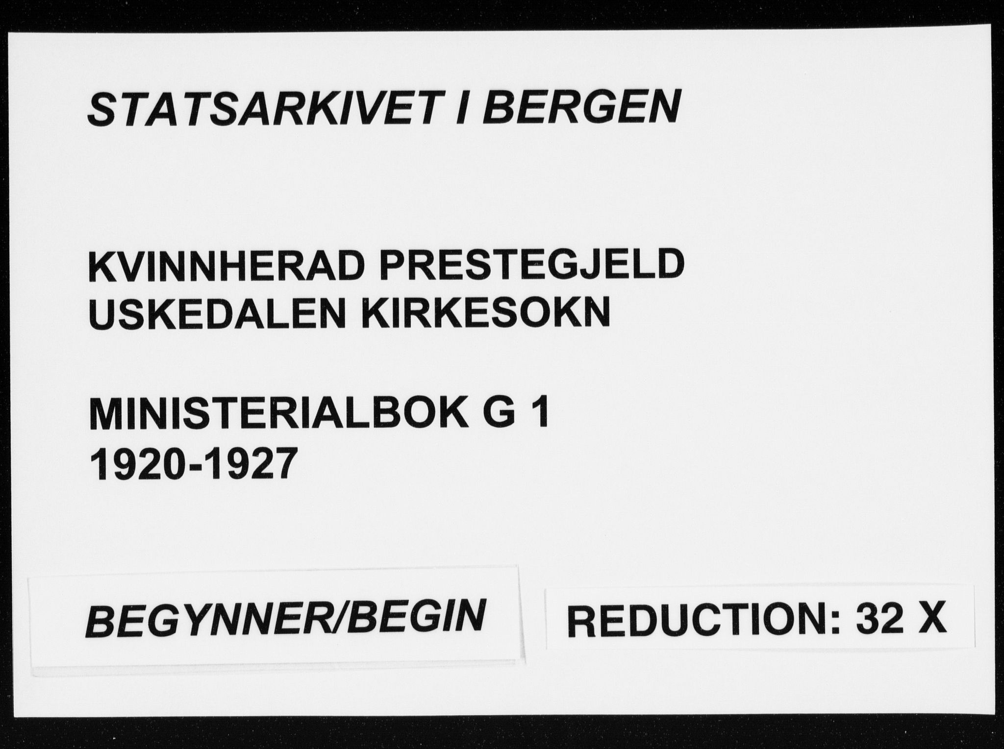 SAB, Kvinnherad Sokneprestembete, H/Haa: Parish register (official) no. G  1, 1920-1927