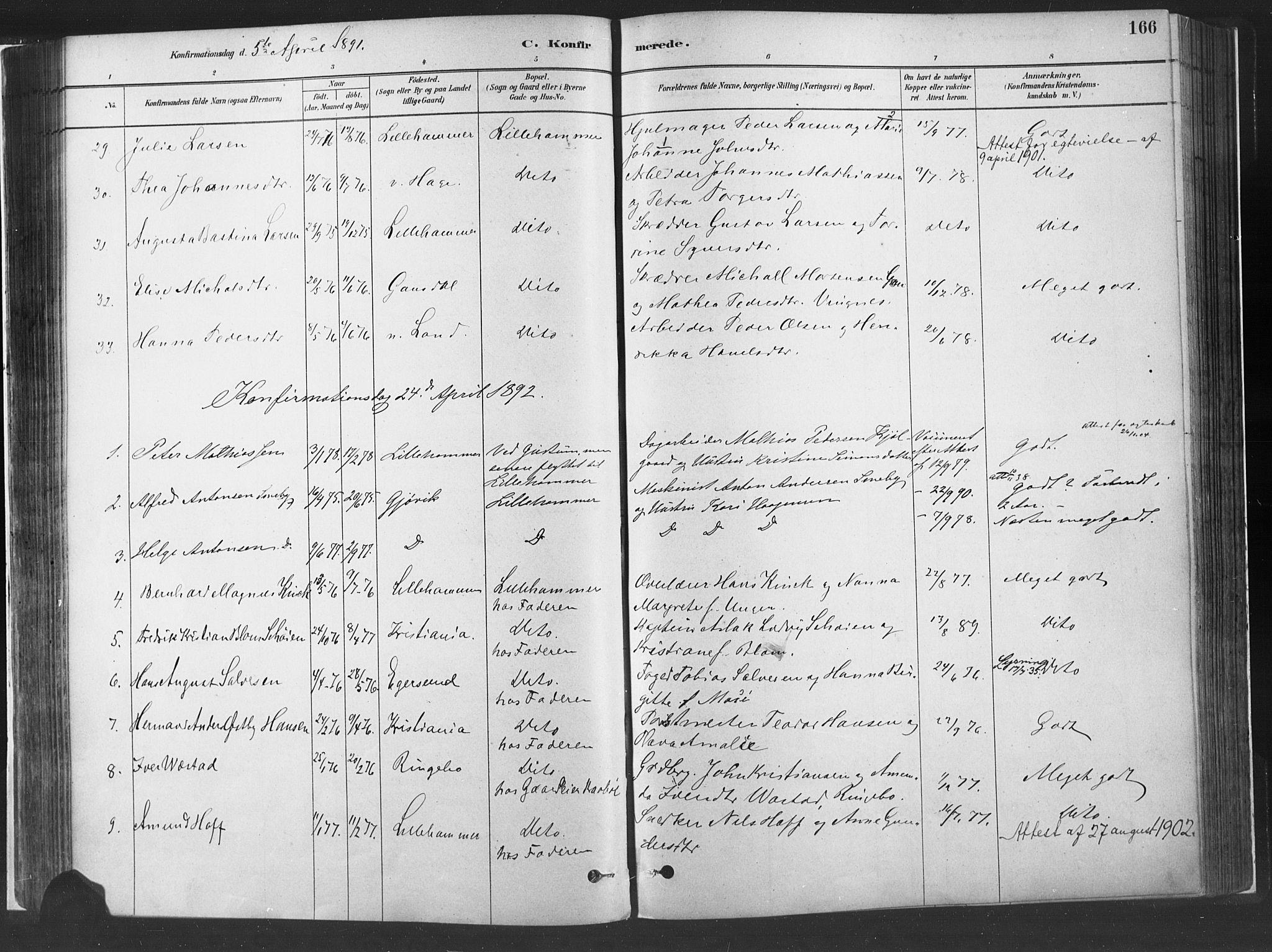 SAH, Fåberg prestekontor, H/Ha/Haa/L0010: Parish register (official) no. 10, 1879-1900, p. 166