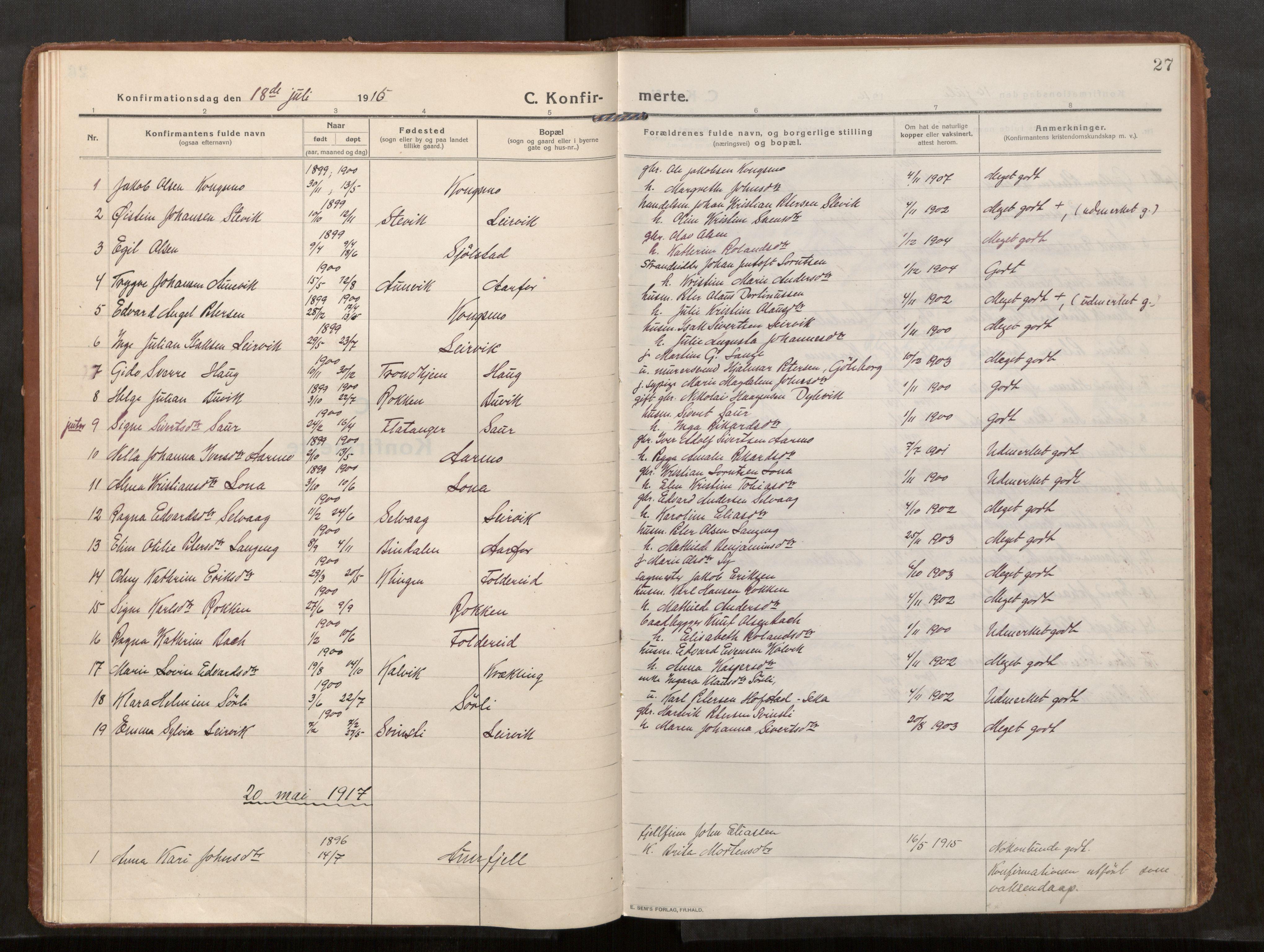SAT, Kolvereid sokneprestkontor, H/Ha/Haa/L0002: Parish register (official) no. 2, 1914-1926, p. 27