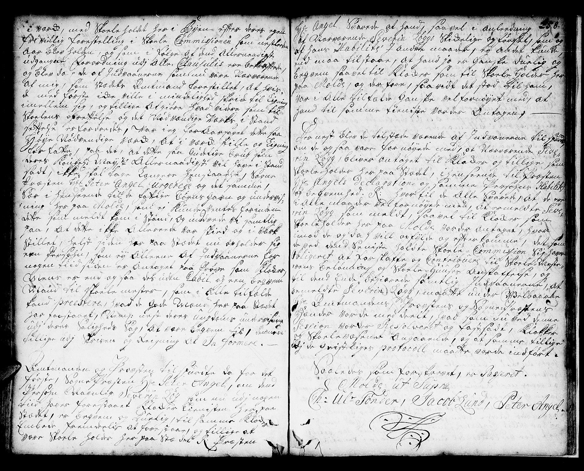 SAT, Romsdal prosti, I/I1/L0001: Retts- og skifteprotokoll m/register, 1706-1749, p. 257b-258a