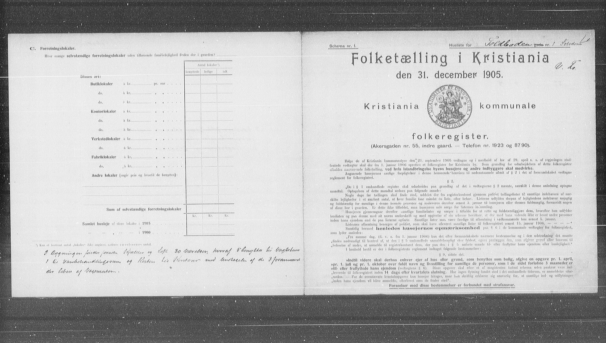 OBA, Municipal Census 1905 for Kristiania, 1905, p. 59210