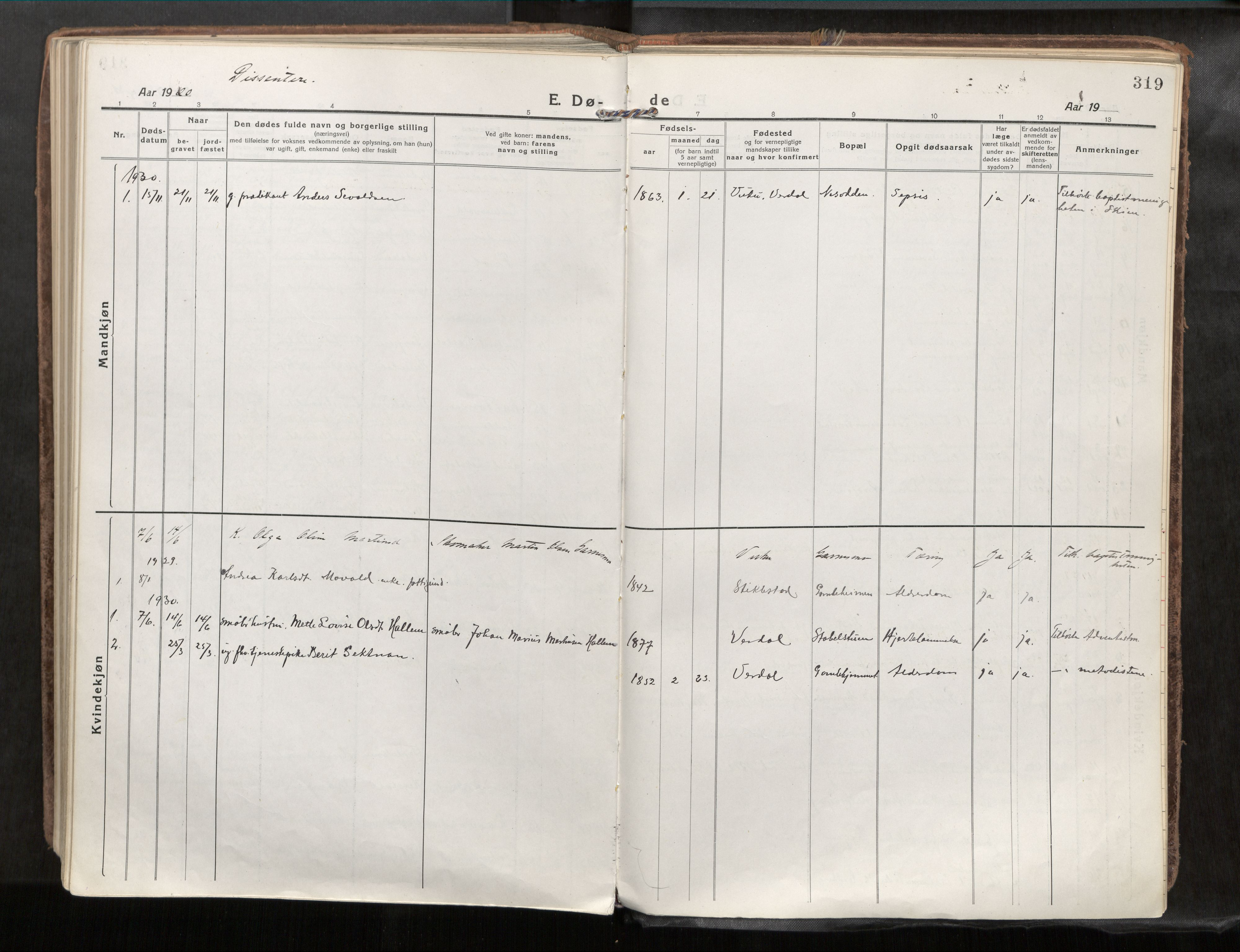 SAT, Verdal sokneprestkontor*, Parish register (official) no. 1, 1917-1932, p. 319
