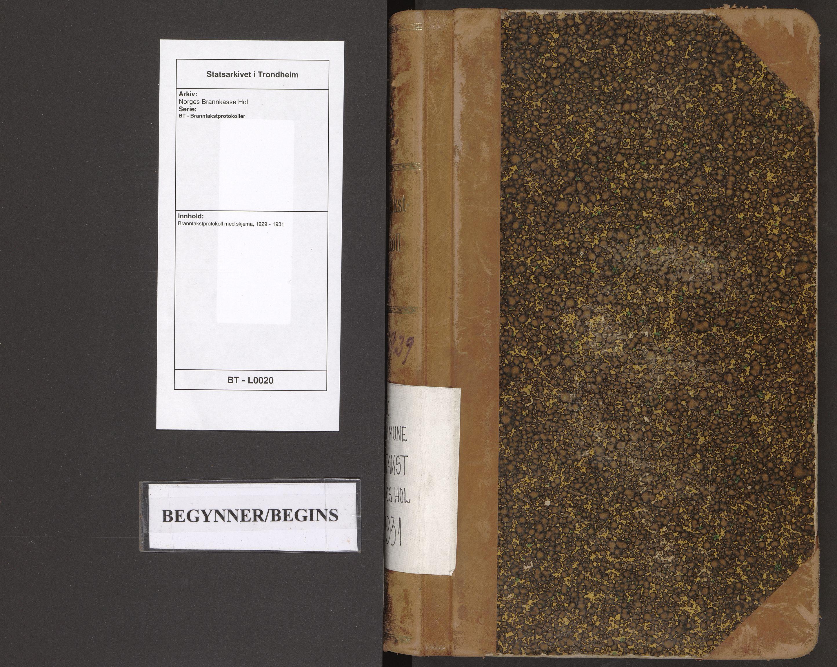 SAT, Norges Brannkasse Hol, BT/L0020: Branntakstprotokoll med skjema, 1929-1931