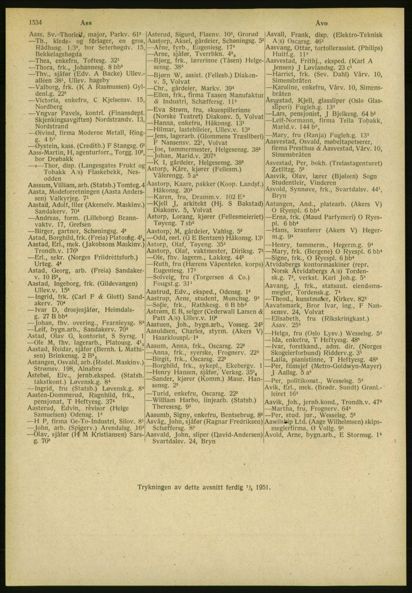 PUBL, Kristiania/Oslo adressebok, 1951, p. 1534