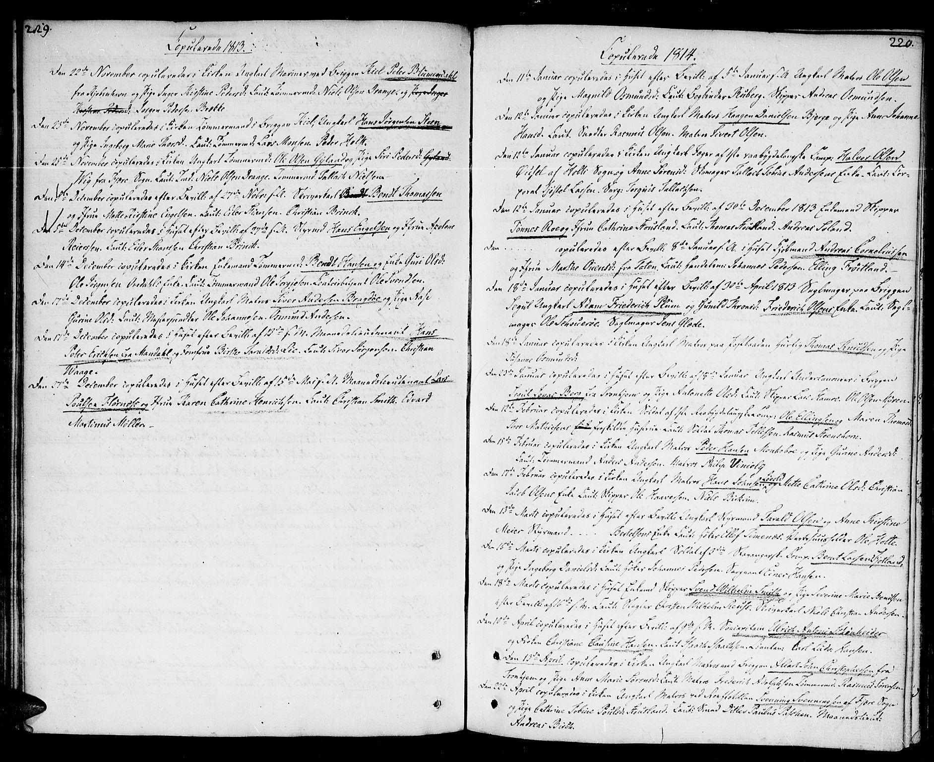 SAK, Kristiansand domprosti, F/Fa/L0005: Parish register (official) no. A 5, 1776-1818, p. 219-220