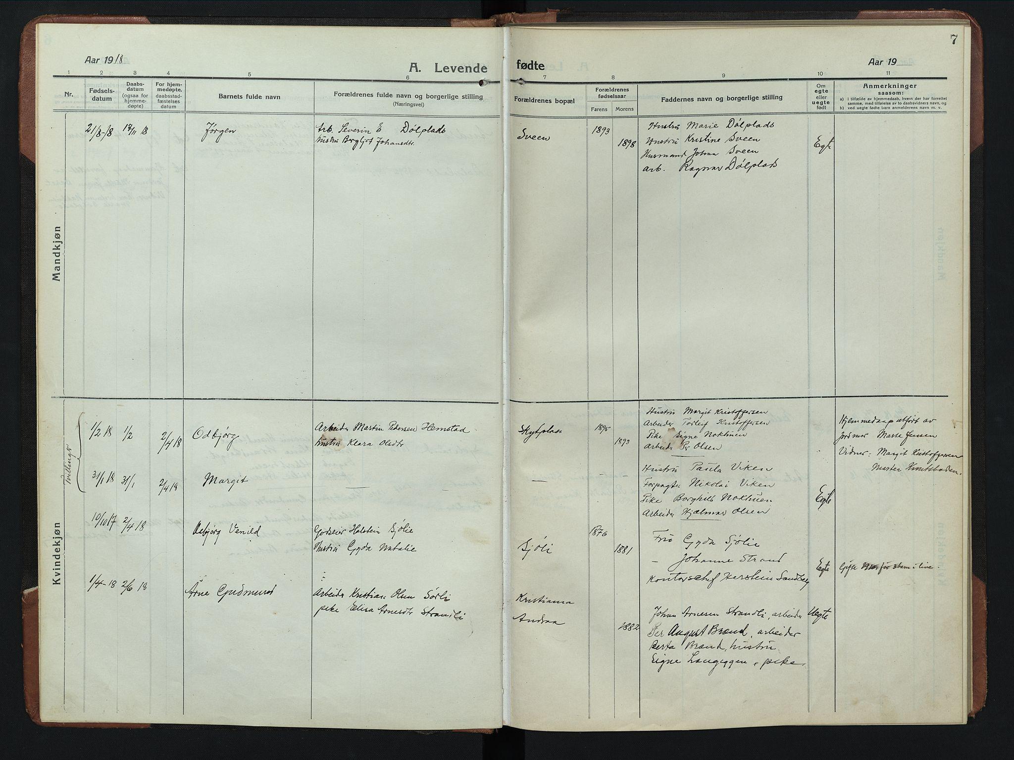SAH, Rendalen prestekontor, H/Ha/Hab/L0008: Parish register (copy) no. 8, 1914-1948, p. 7