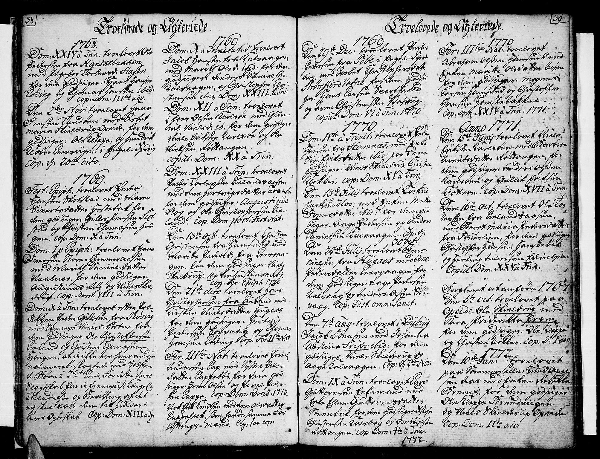 SAT, Ministerialprotokoller, klokkerbøker og fødselsregistre - Nordland, 859/L0841: Parish register (official) no. 859A01, 1766-1821, p. 38-39
