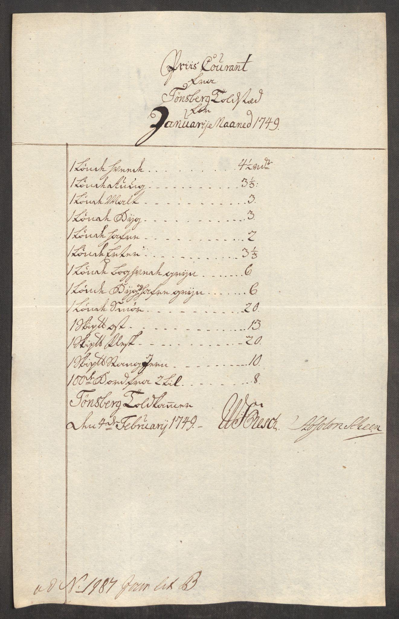 RA, Rentekammeret inntil 1814, Realistisk ordnet avdeling, Oe/L0004: [Ø1]: Priskuranter, 1749-1752, p. 82