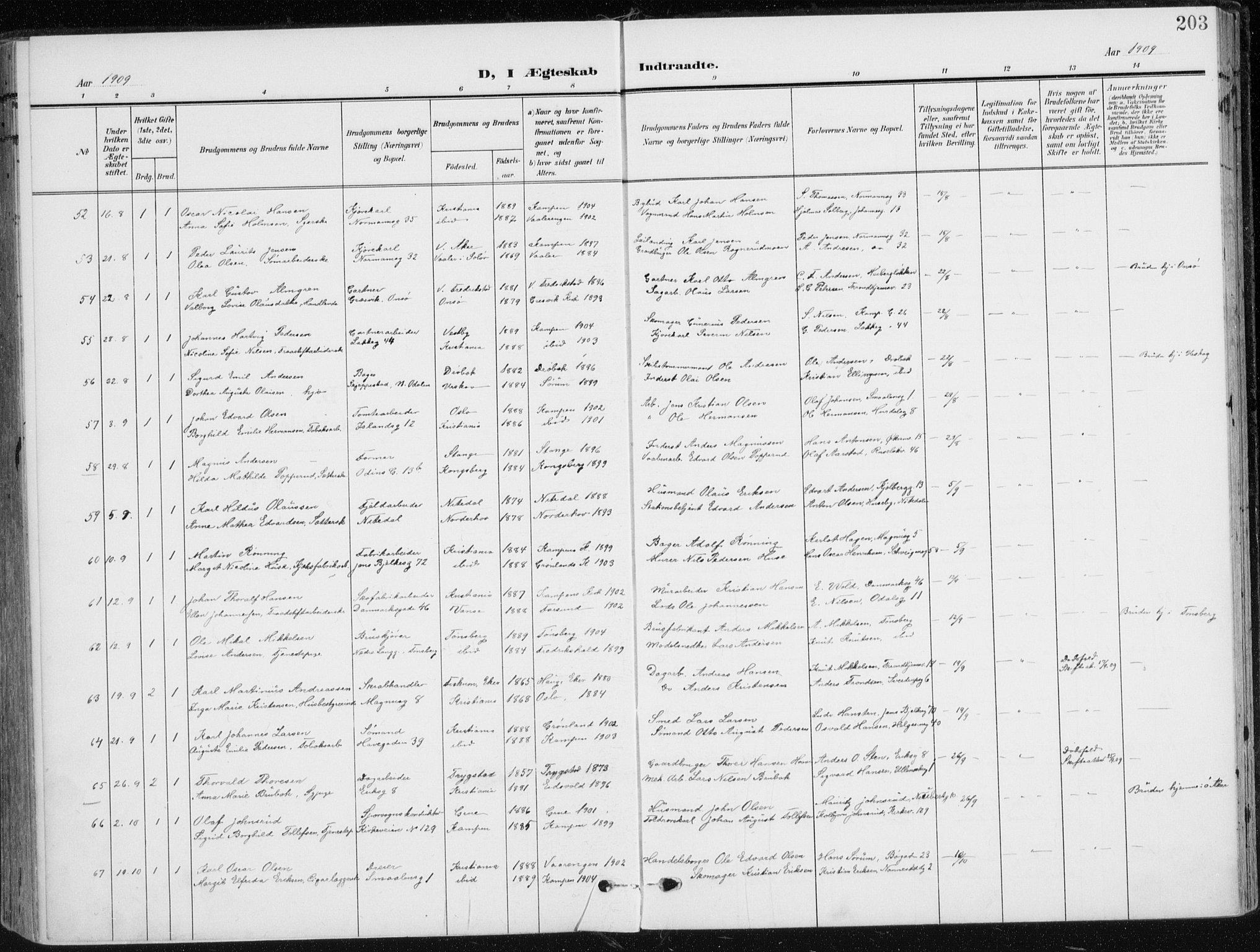 SAO, Kampen prestekontor Kirkebøker, F/Fa/L0011: Parish register (official) no. I 11, 1907-1917, p. 203