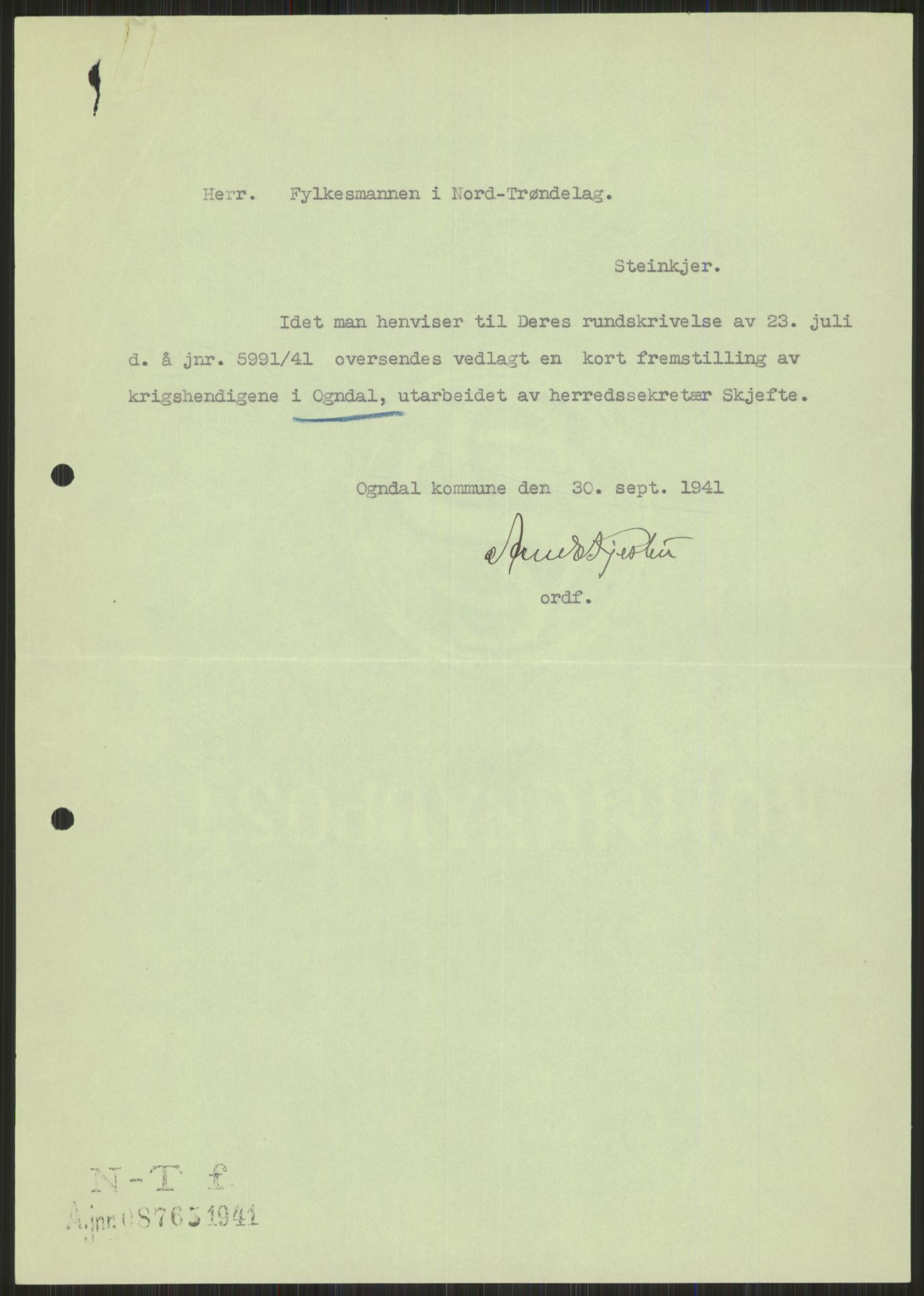 RA, Forsvaret, Forsvarets krigshistoriske avdeling, Y/Ya/L0016: II-C-11-31 - Fylkesmenn.  Rapporter om krigsbegivenhetene 1940., 1940, p. 526
