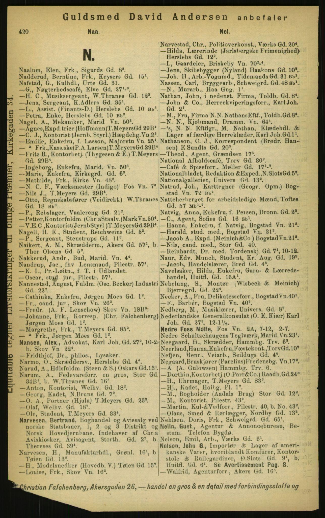 PUBL, Kristiania/Oslo adressebok, 1897, p. 420