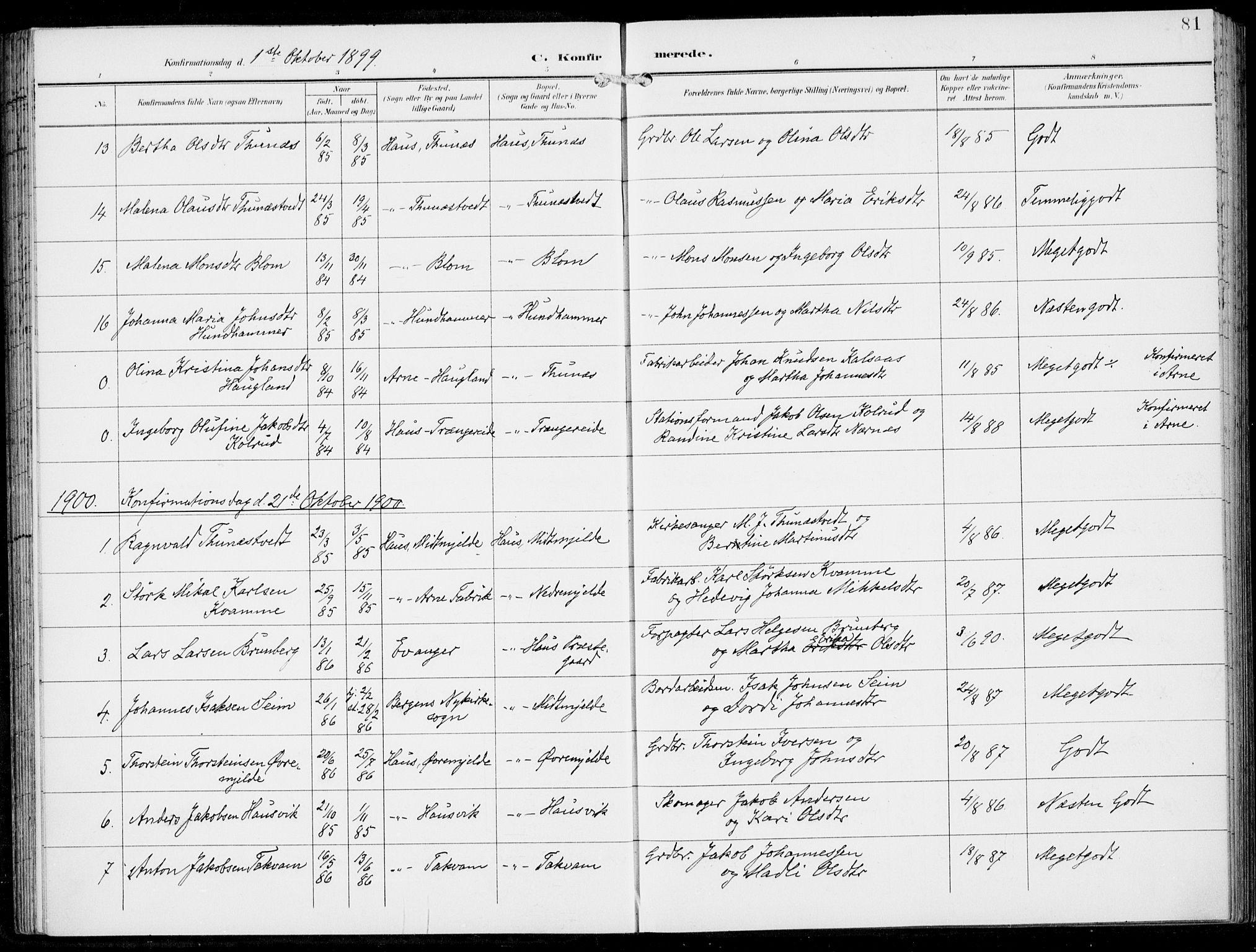 SAB, Haus Sokneprestembete, H/Haa: Parish register (official) no. B  2, 1899-1912, p. 81