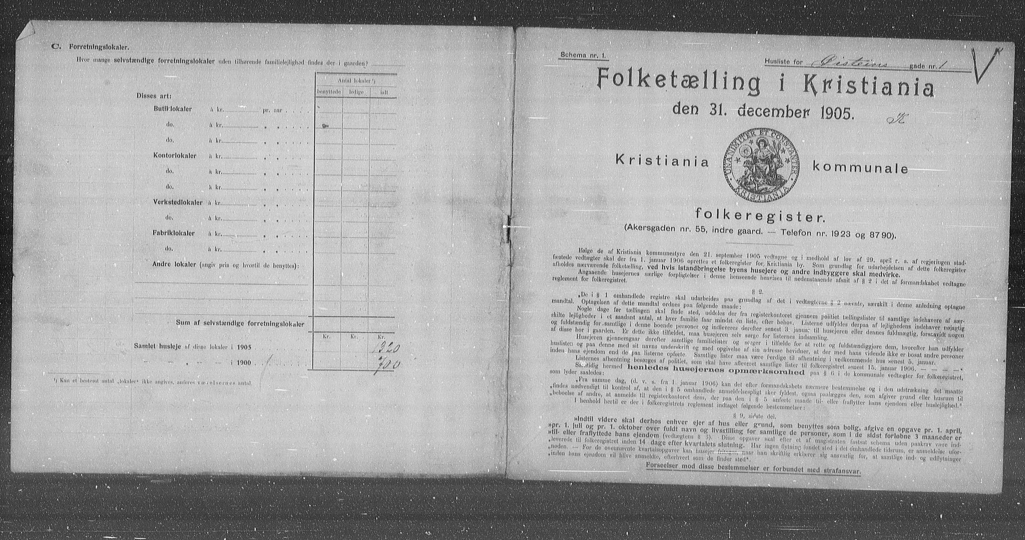 OBA, Municipal Census 1905 for Kristiania, 1905, p. 67669