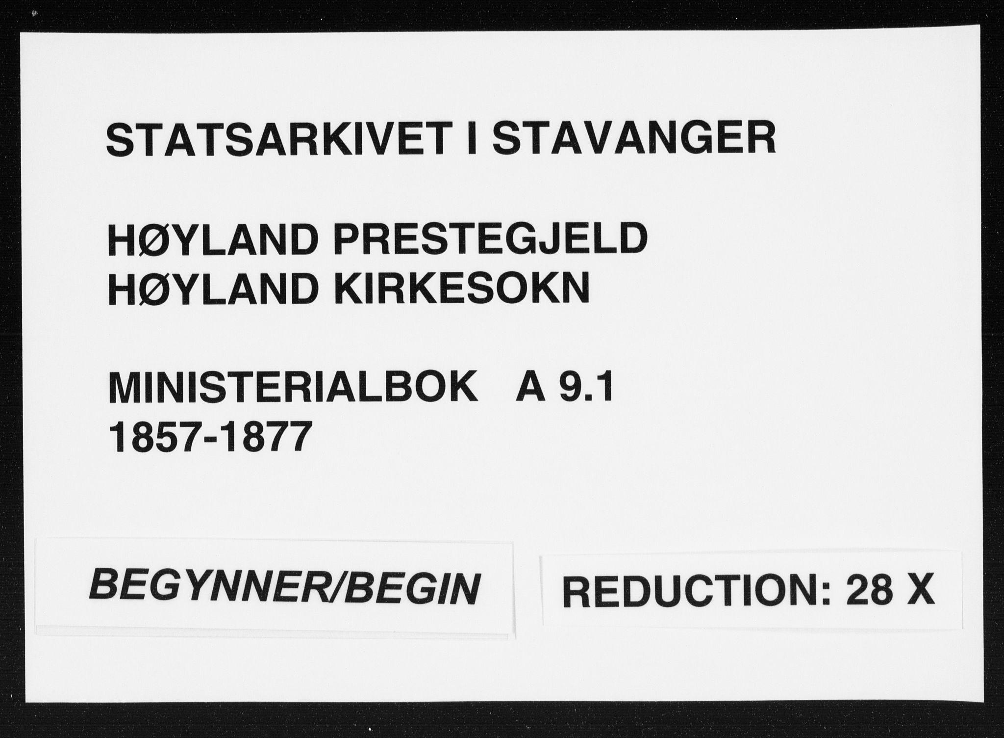SAST, Høyland sokneprestkontor, 30BA/L0010: Parish register (official) no. A 9.1, 1857-1877