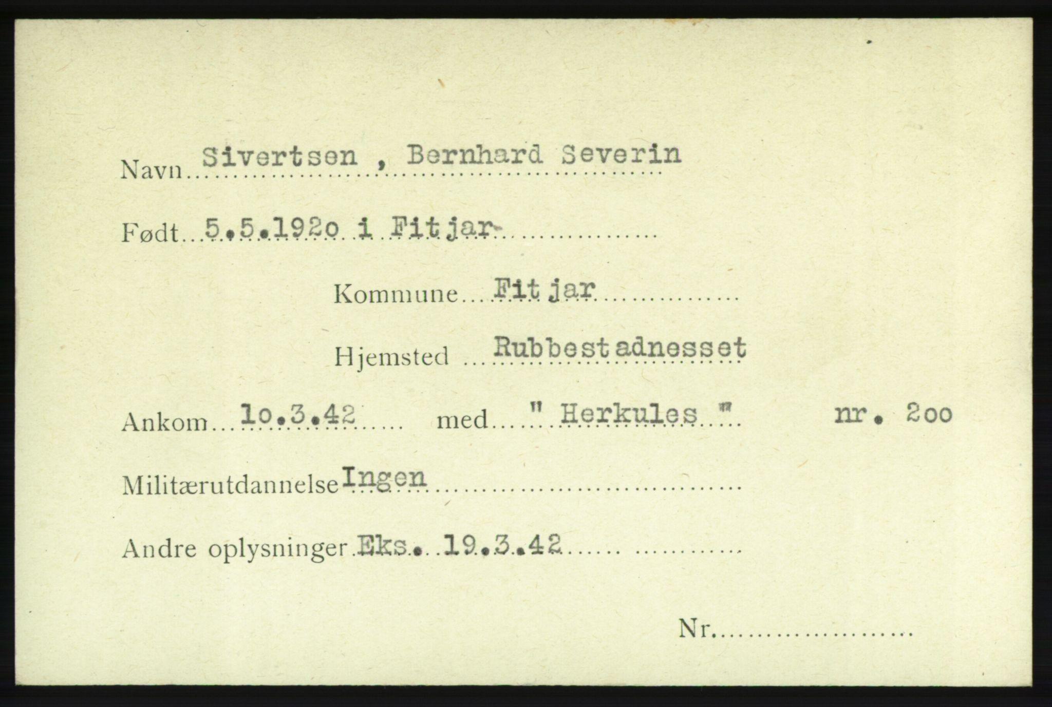 NHM, Forsvarets Overkommando. 2. kontor. Arkiv 8.1. Mottakersentralen FDE og FO.II, P/Pa/L0018: Kortsamling, 1940-1945