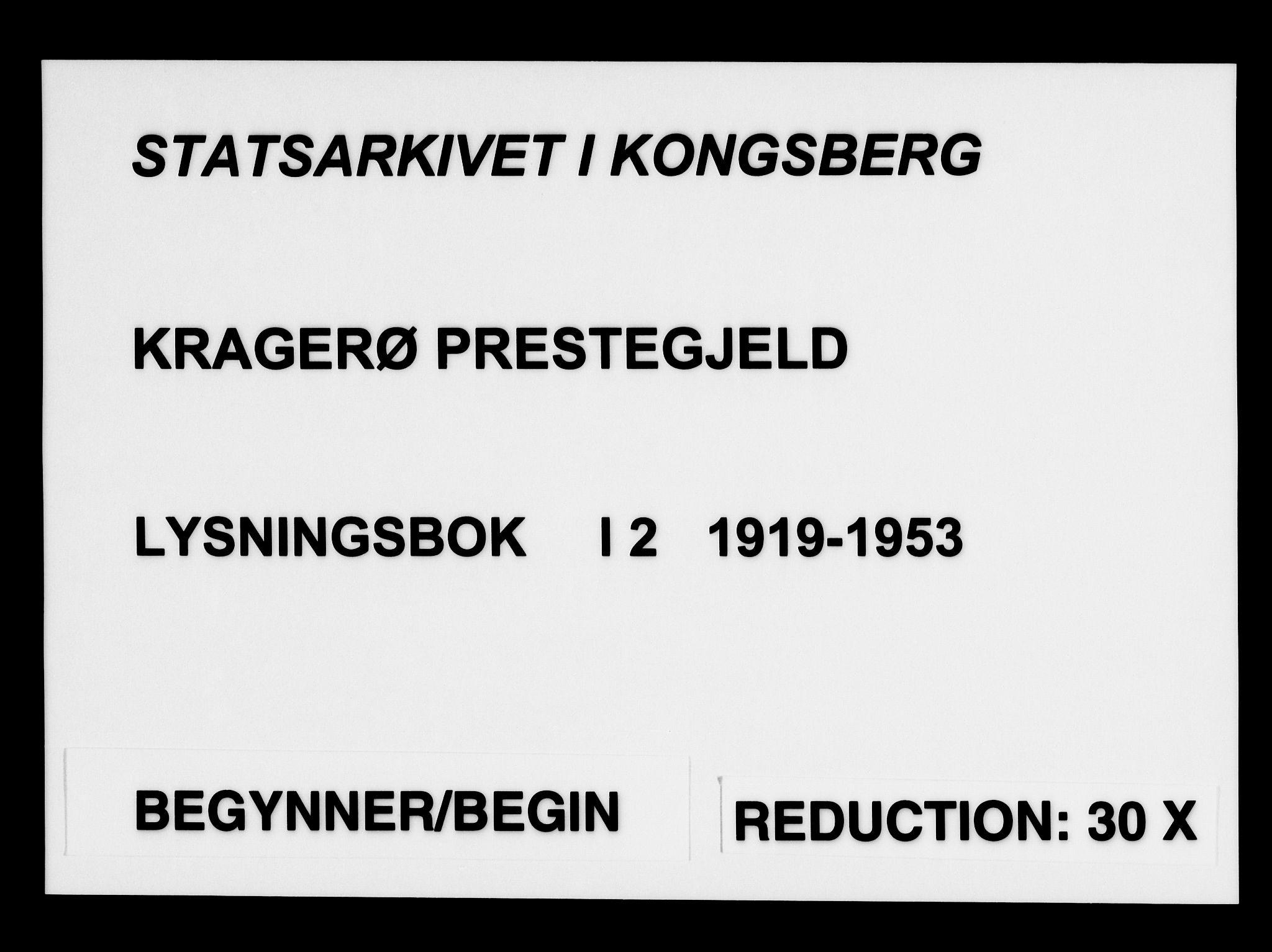 SAKO, Kragerø kirkebøker, H/Ha/L0002: Banns register no. I 2, 1919-1953