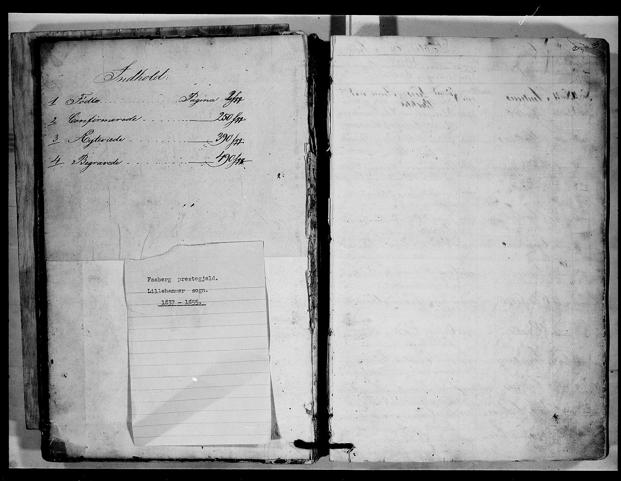 SAH, Fåberg prestekontor, H/Ha/Hab/L0006: Parish register (copy) no. 6, 1837-1855, p. 0-1