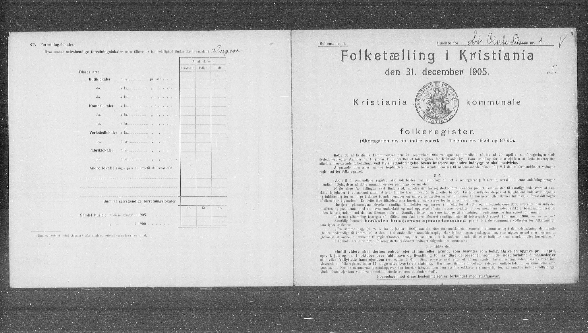 OBA, Municipal Census 1905 for Kristiania, 1905, p. 53425