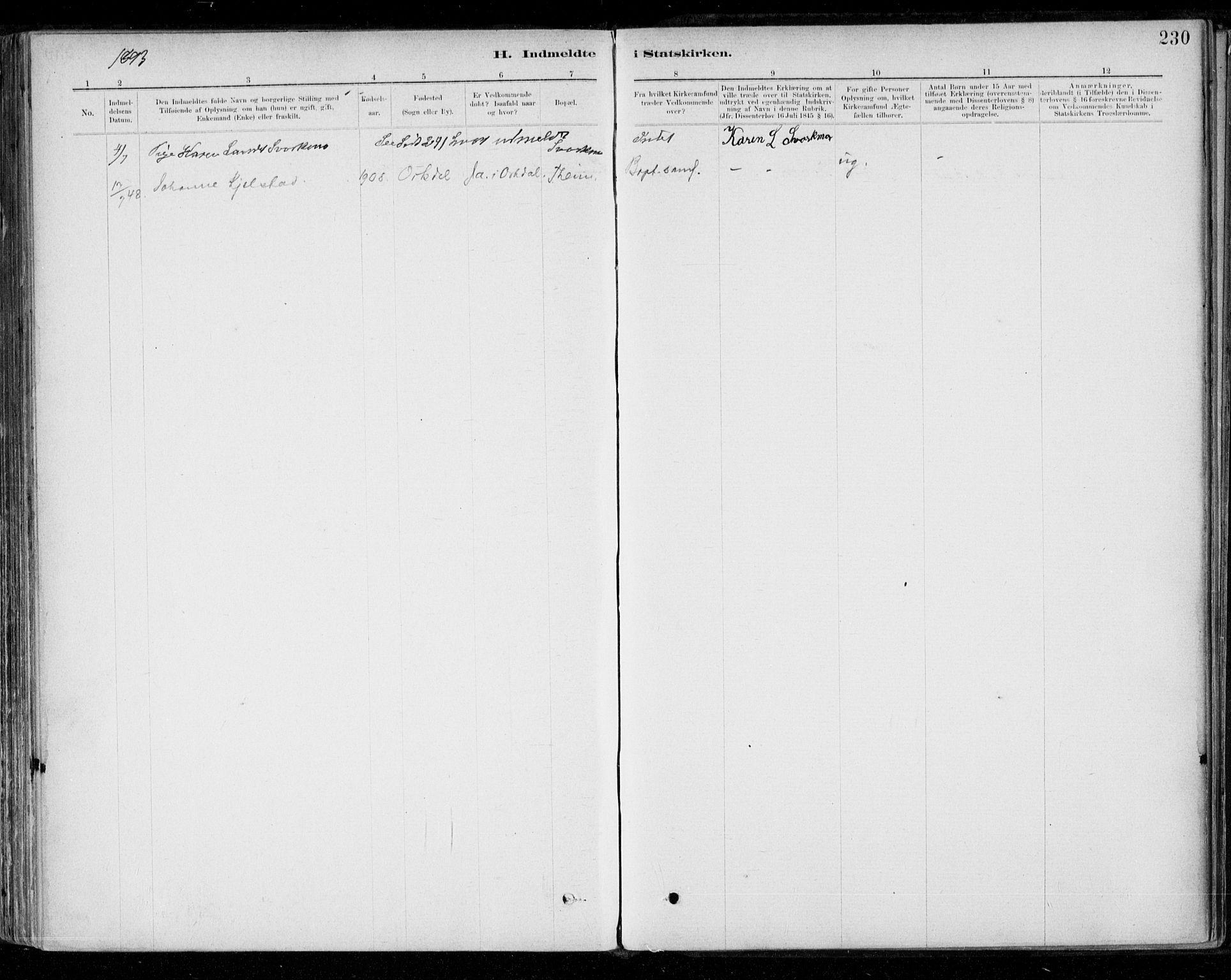 SAT, Ministerialprotokoller, klokkerbøker og fødselsregistre - Sør-Trøndelag, 668/L0810: Parish register (official) no. 668A10, 1881-1894, p. 230