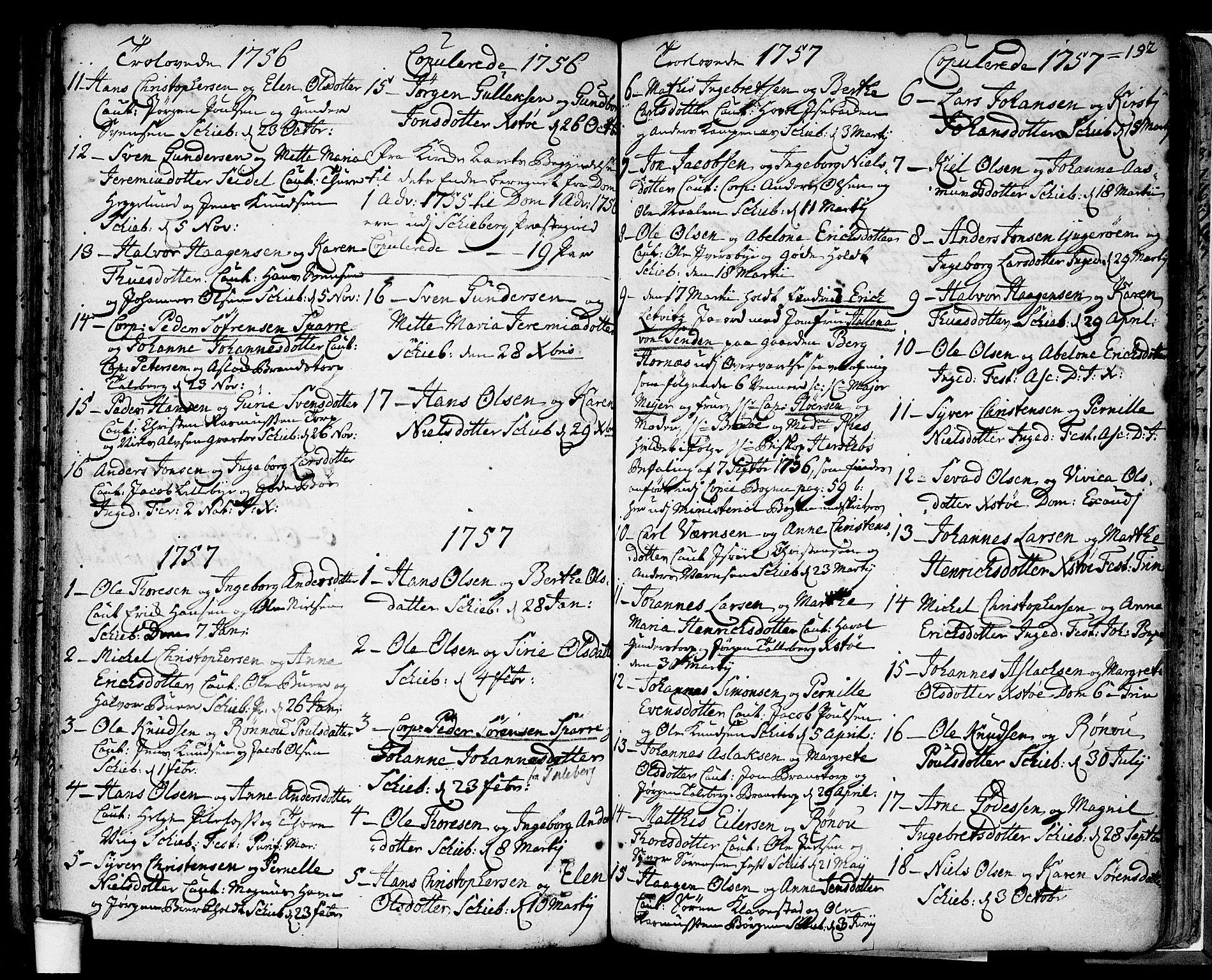 SAO, Skjeberg prestekontor Kirkebøker, F/Fa/L0002: Parish register (official) no. I 2, 1726-1791, p. 192