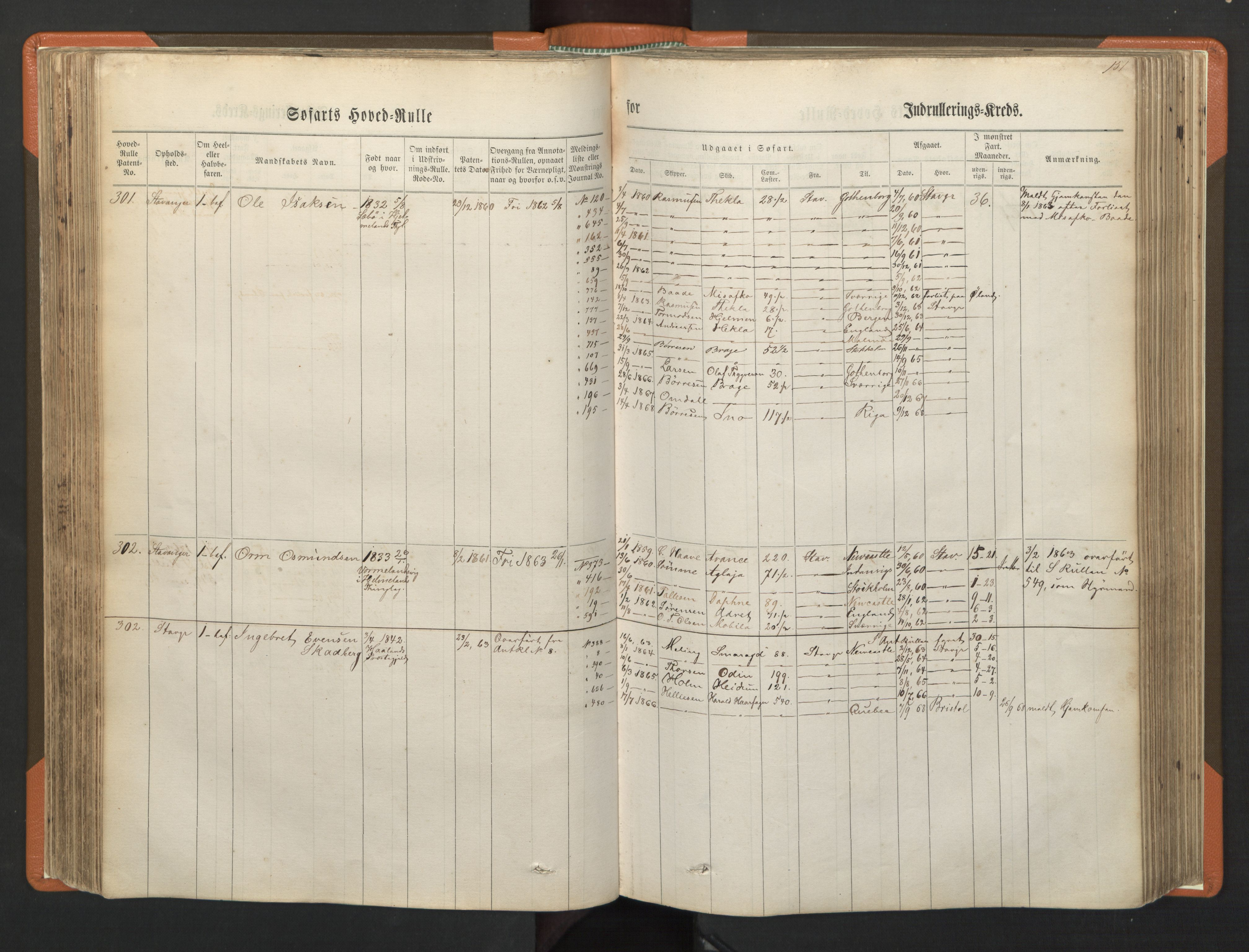 SAST, Stavanger sjømannskontor, F/Fb/Fbb/L0001: Sjøfartshovedrulle, patentnr. 1-720 (del 1), 1860-1863, p. 155