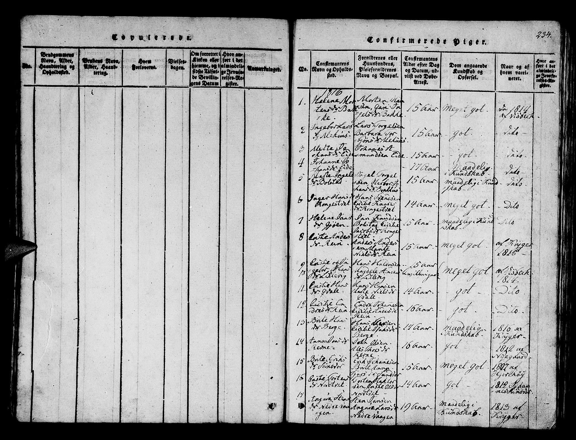 SAB, Os sokneprestembete*, Parish register (official) no. A 12, 1816-1825, p. 234