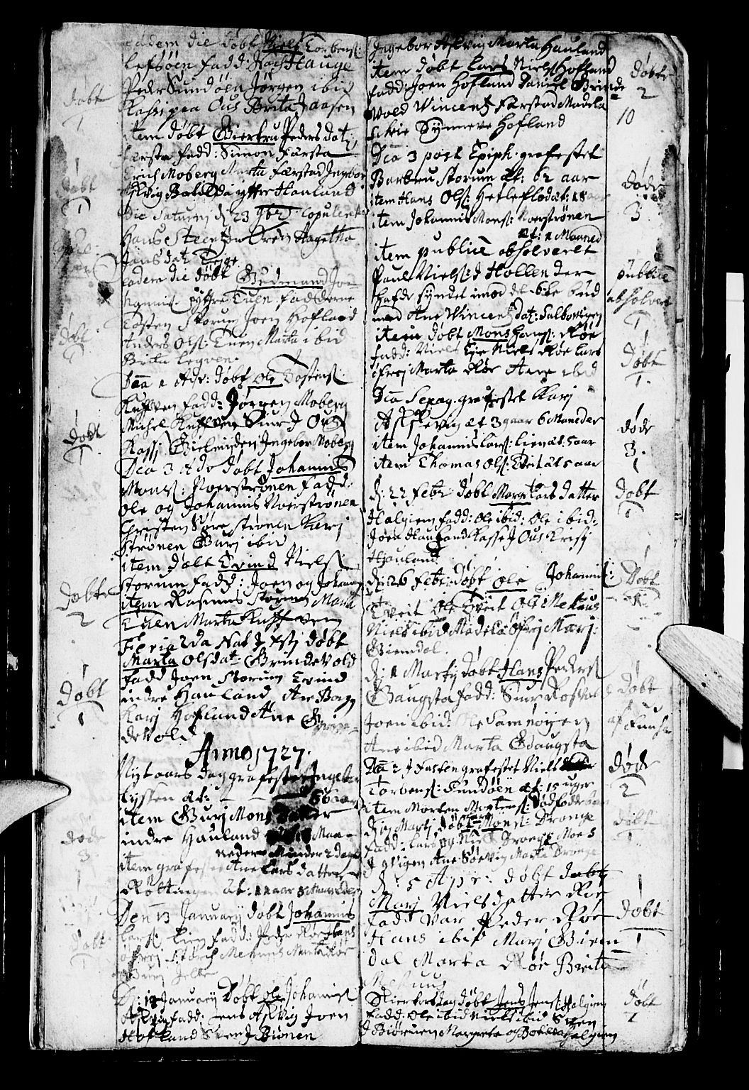 SAB, Os sokneprestembete*, Parish register (official) no. A 2, 1723-1758, p. 10