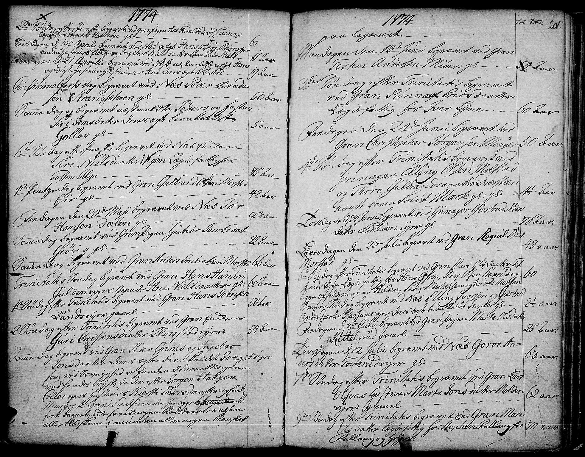 SAH, Gran prestekontor, Parish register (official) no. 4, 1759-1775, p. 201