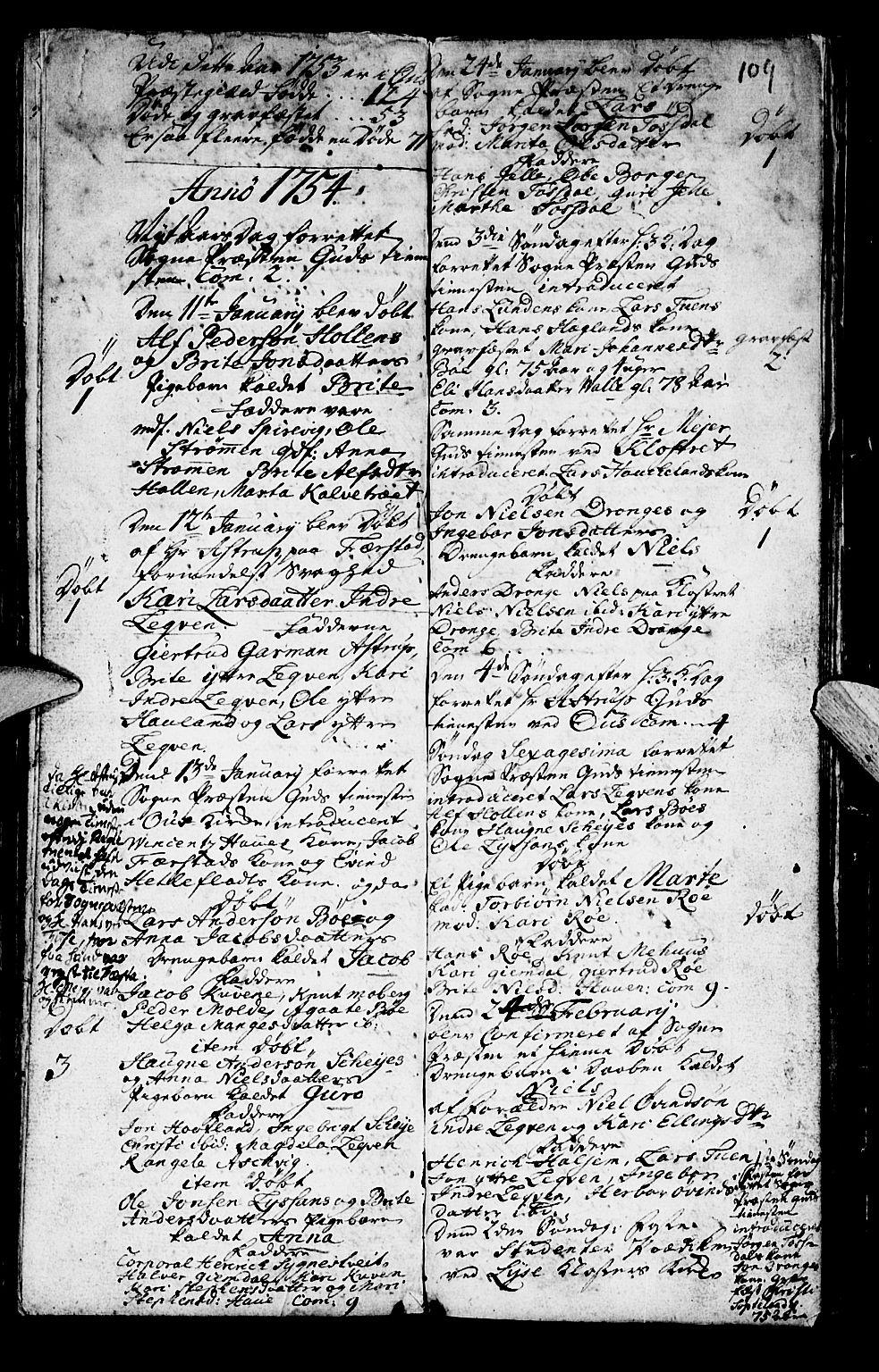 SAB, Os sokneprestembete*, Parish register (official) no. A 2, 1723-1758, p. 109