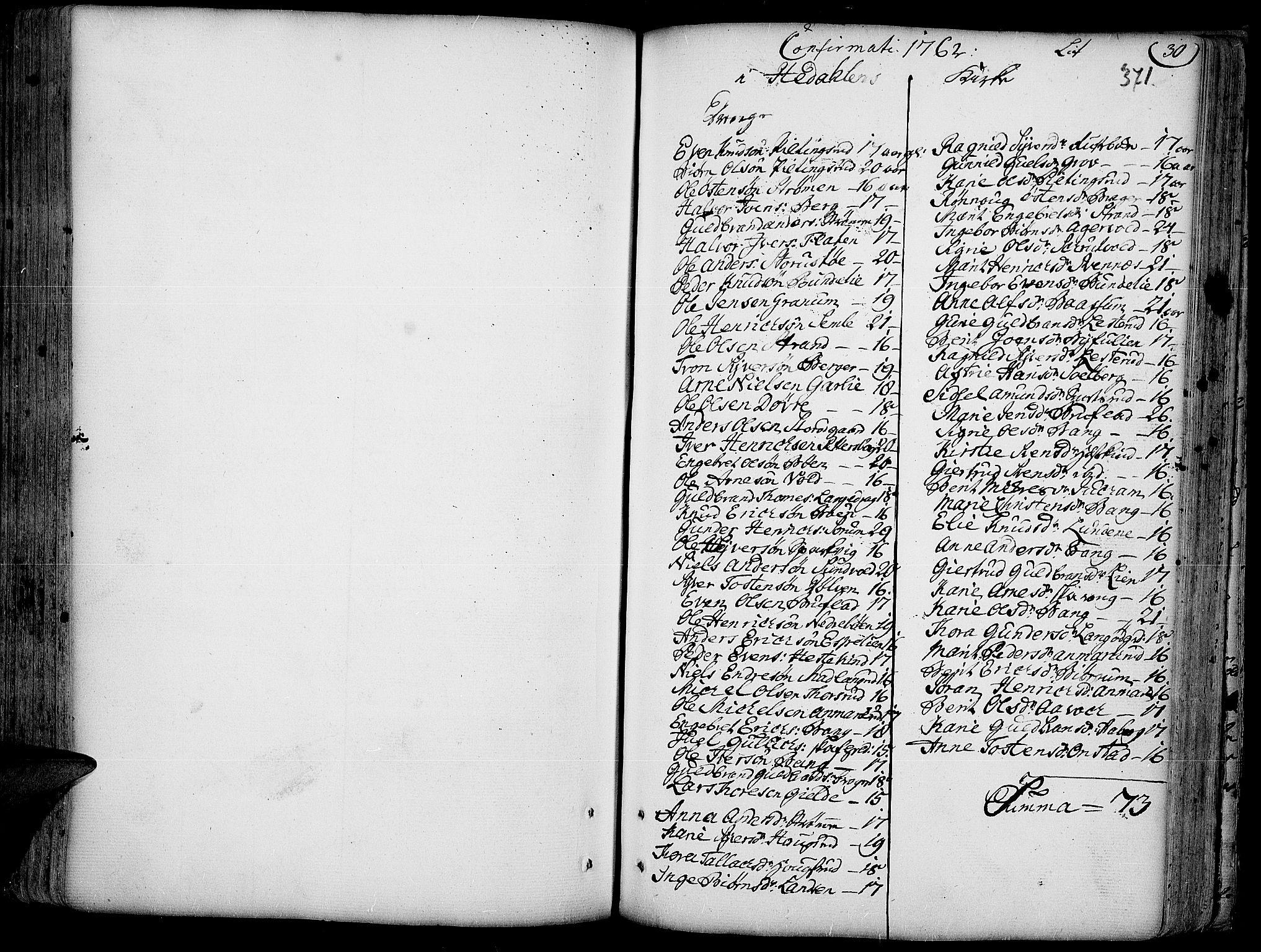 SAH, Aurdal prestekontor, Parish register (official) no. 4, 1730-1762, p. 30