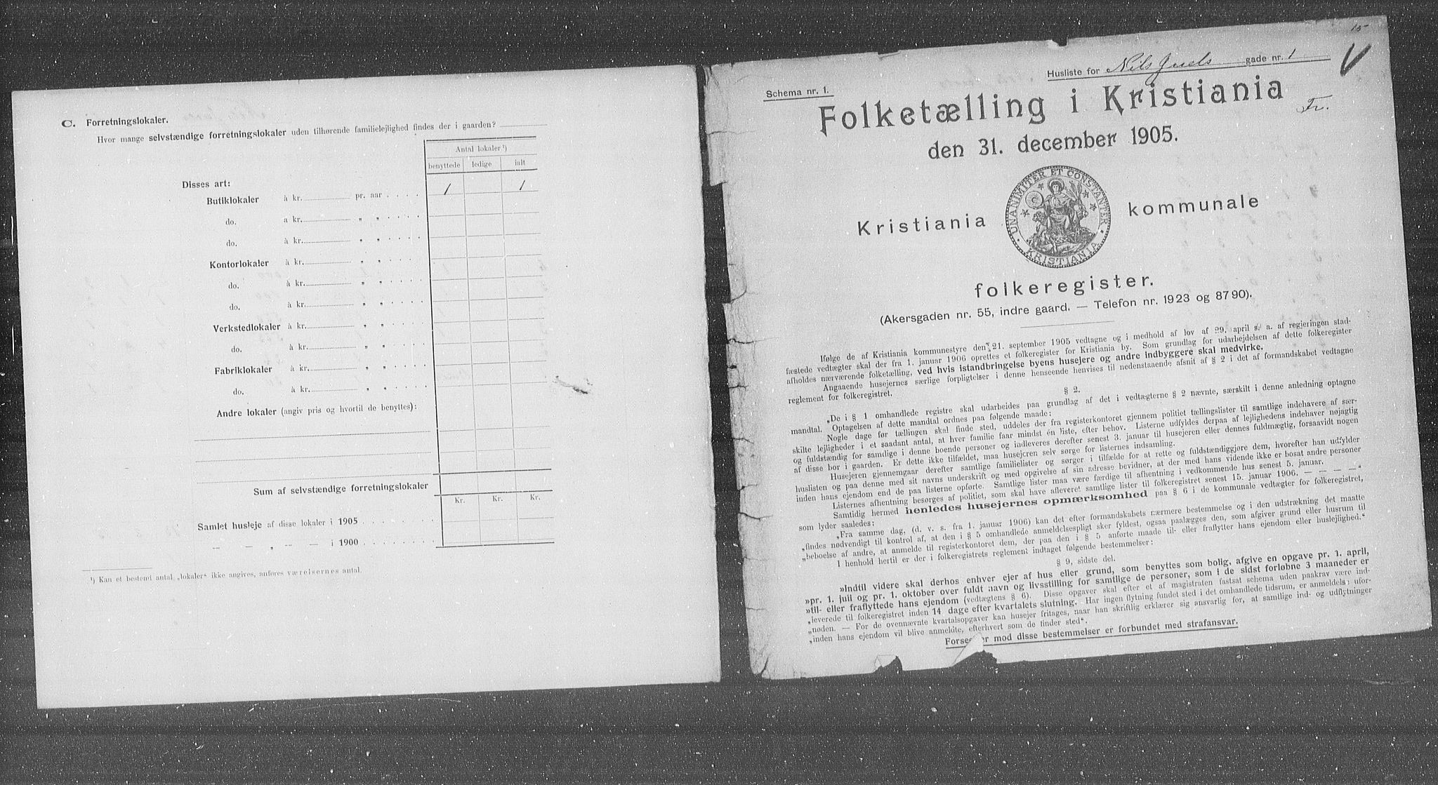 OBA, Municipal Census 1905 for Kristiania, 1905, p. 36956